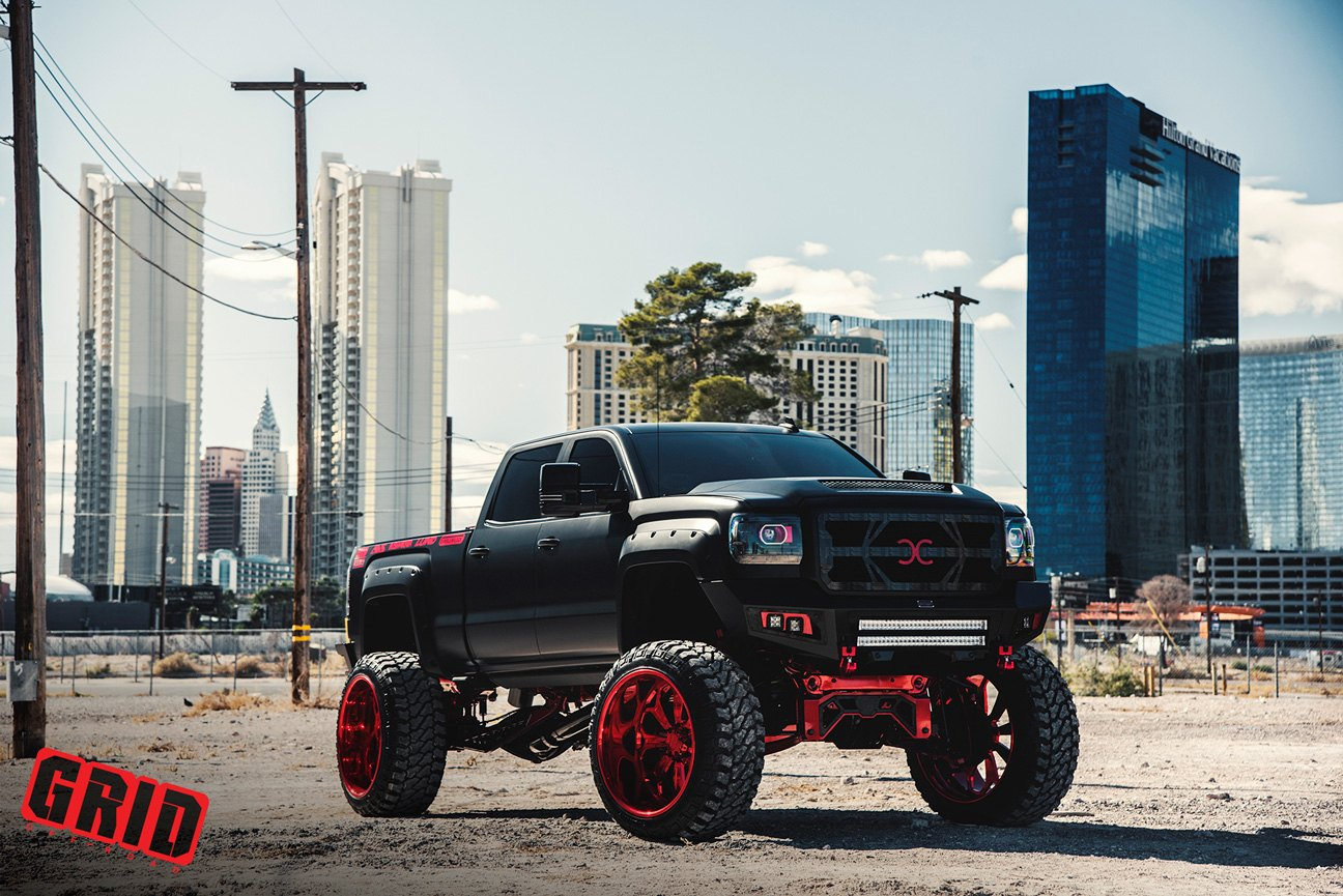 Amazing Black Lifted Gmc Sierra With Red Accents And Off Road Rims Carid Com Gallery