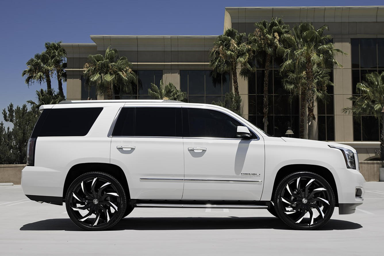 White Gmc Yukon On Contrasting Multispoke Lexani Wheels Carid Com Gallery
