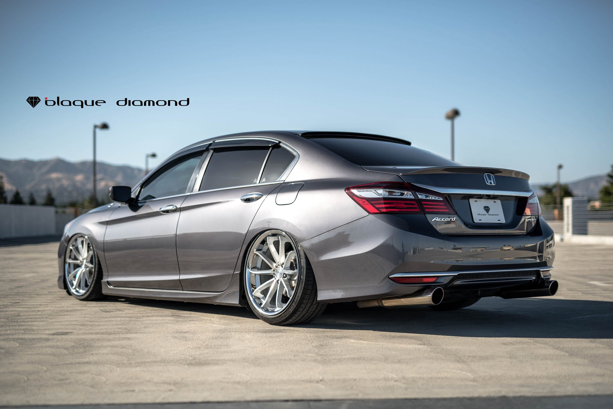 Stanced Honda Accord With Air Suspension And Black Diamond Bd23 Rims Custom Sedan Photo By