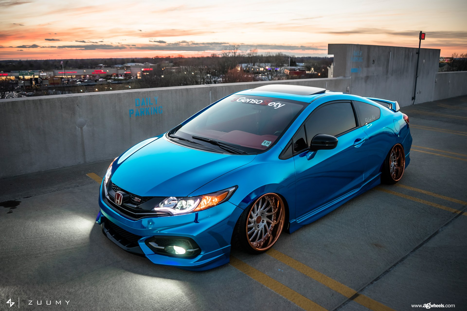 chrome blue stanced honda civic si coupe by avant garde. Black Bedroom Furniture Sets. Home Design Ideas