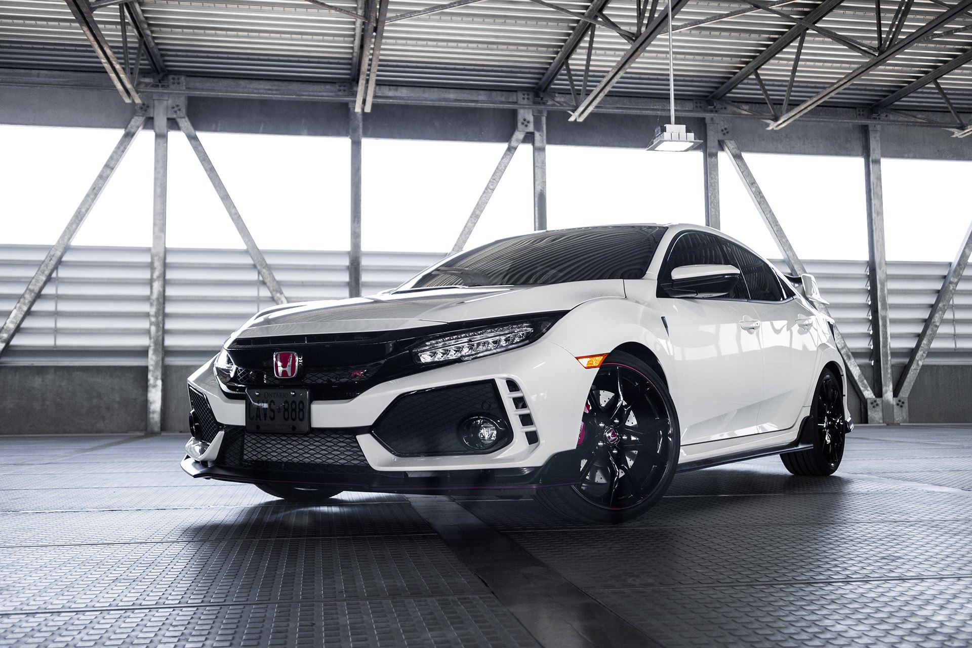 White Honda Civic Type R with Custom Front Lip - Photo by Vossen