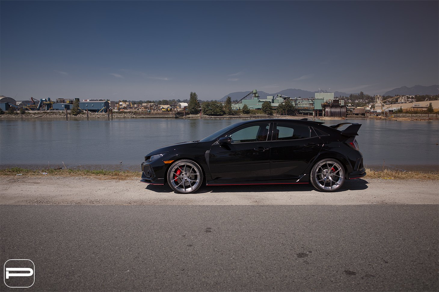 PUR Wheels with Red Brakes on Black Honda Civic - Photo by PUR Wheels