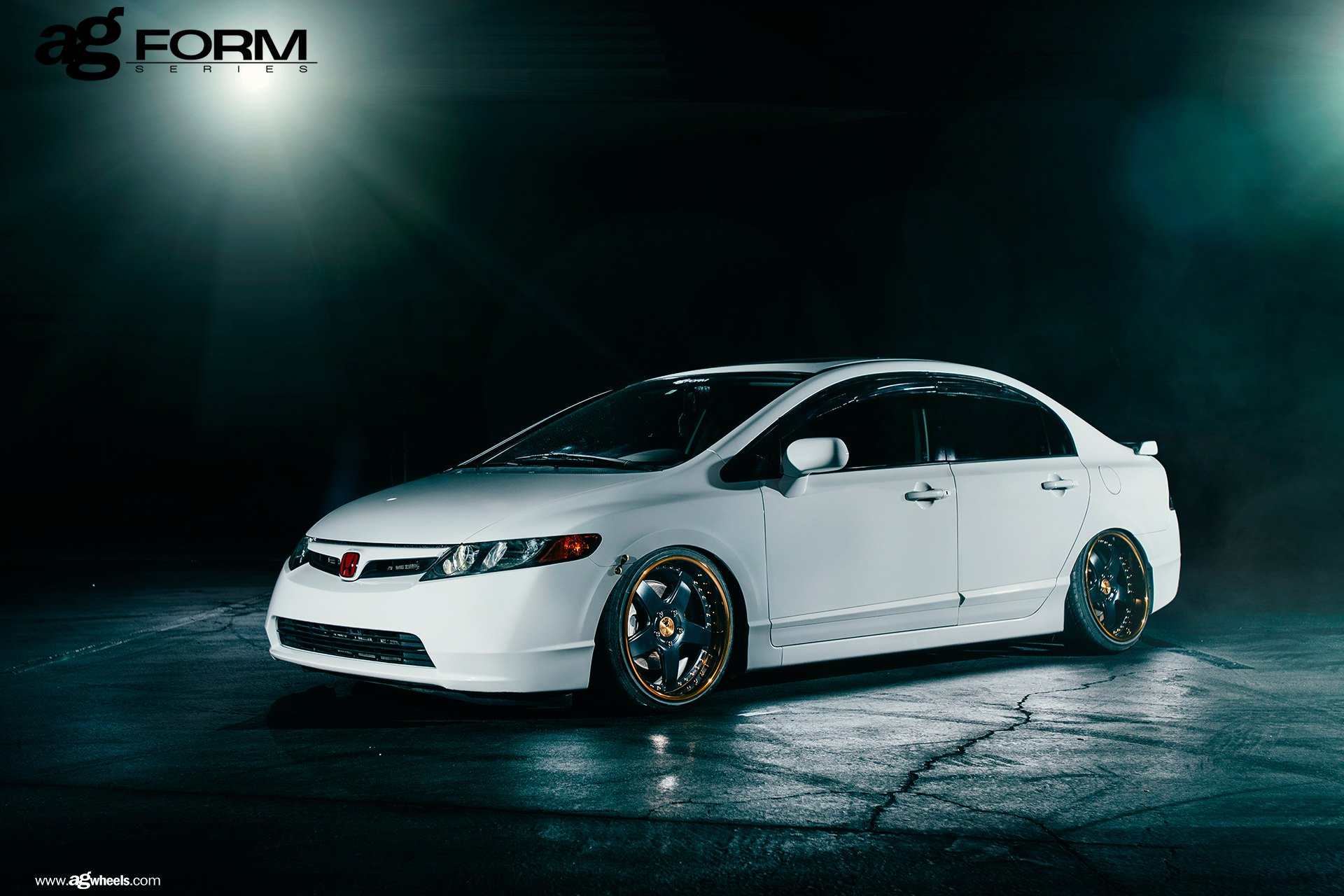 White Honda Civic With Custom Front Per Photo By Avant Garde Wheels