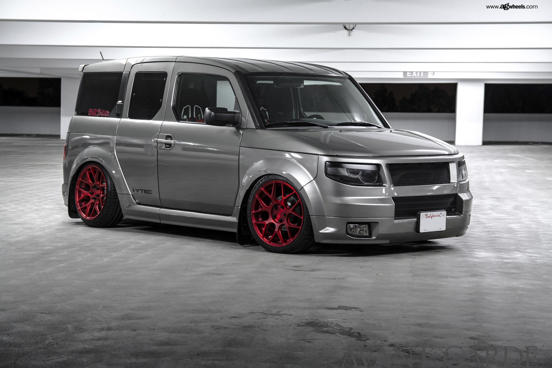 Honda Element Camper >> Gray Honda Element Taken to Another Level with Custom Body Kit and Matte Red Wheels — CARiD.com ...