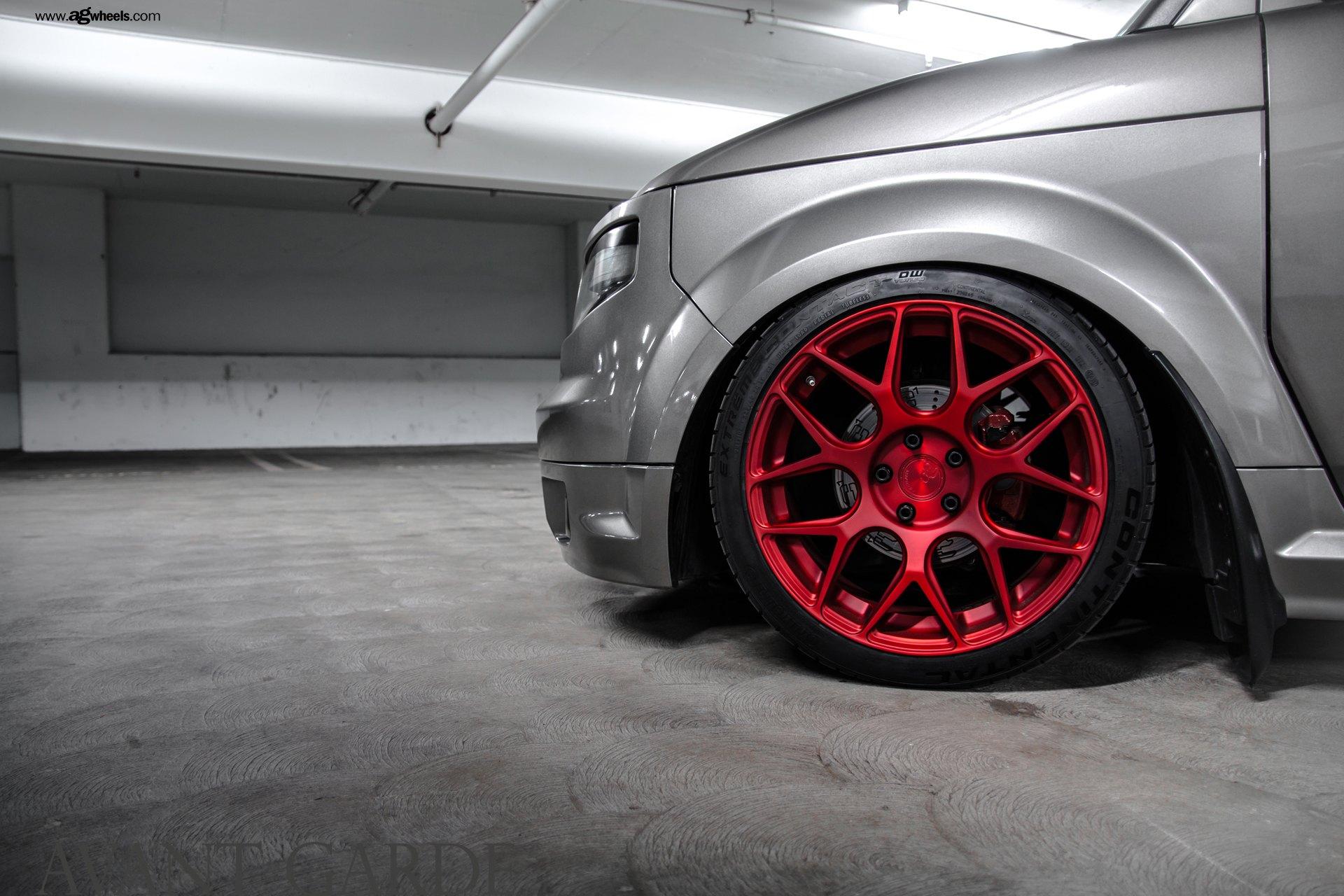 Matte Red Avant Garde Rims on Gray Honda Element - Photo by Avant Garde  Wheels