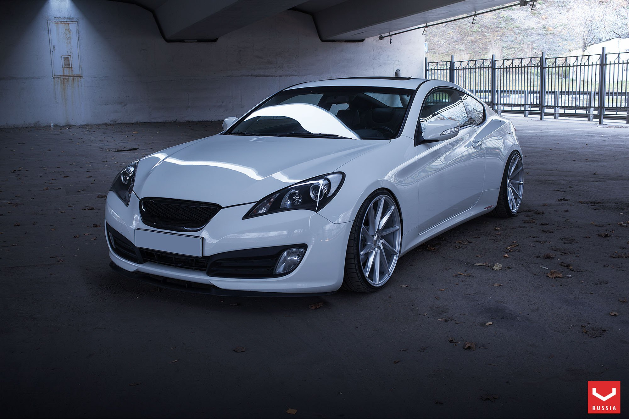 White Hyundai Genesis Coupe With Aftermarket LED Headlights   Photo By  Vossen