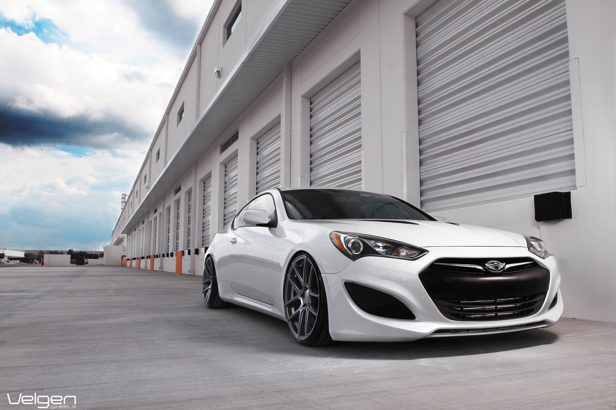 White Hyundai Genesis Coupe With Dark Smoke Headlights   Photo By Vossen