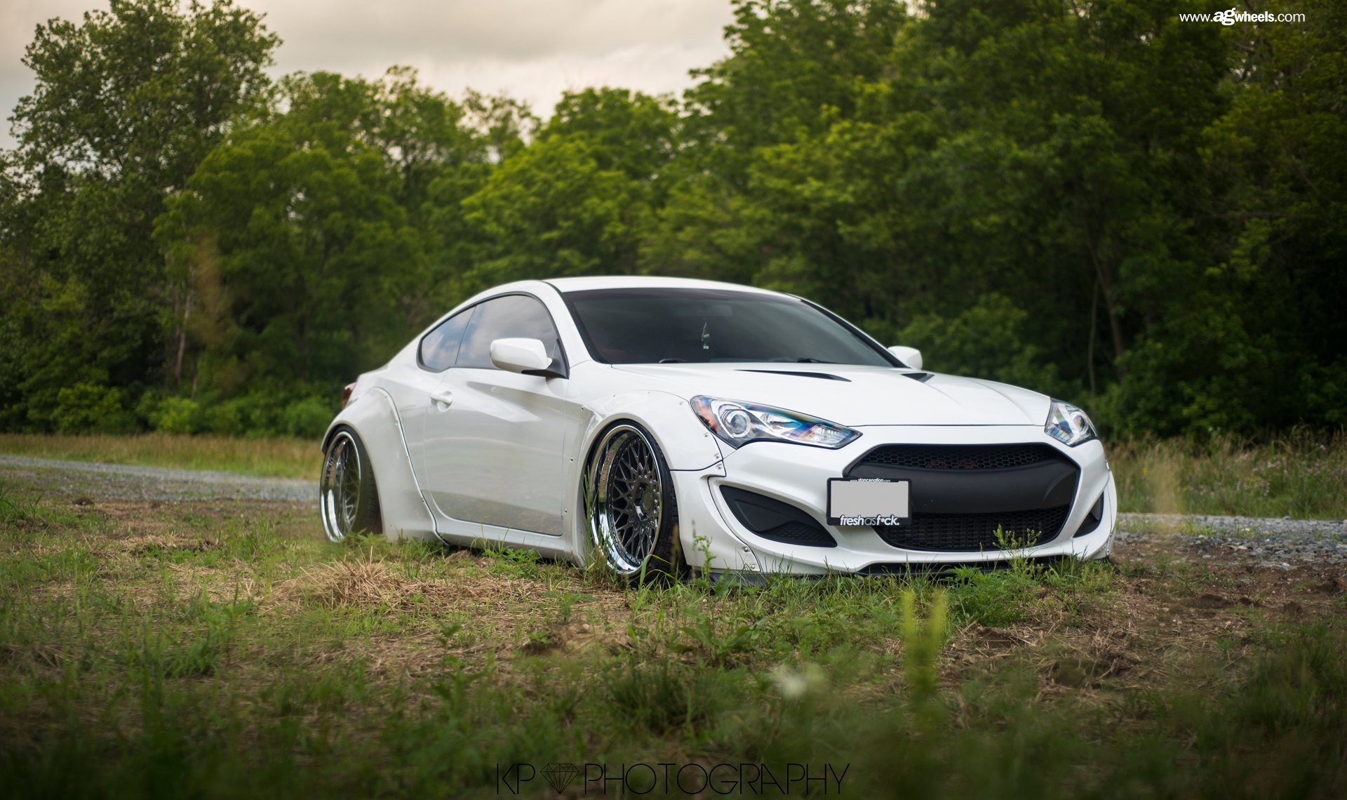White Hyundai Genesis Coupe With Custom Hood   Photo By Avant Garde Wheels