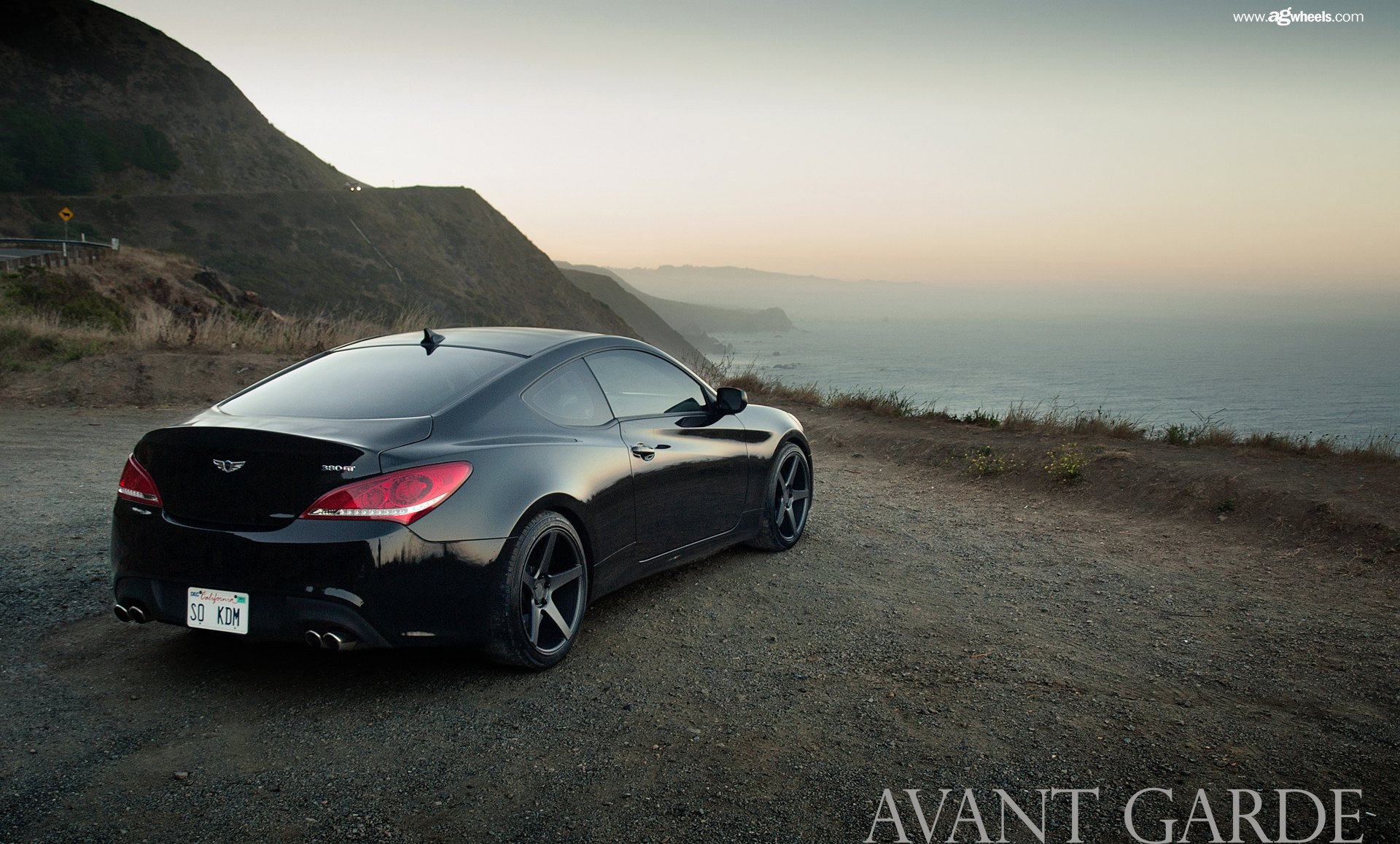 Elegant Black Hyundai Genesis Coupe Red LED Taillights   Photo By Avant Garde Wheels