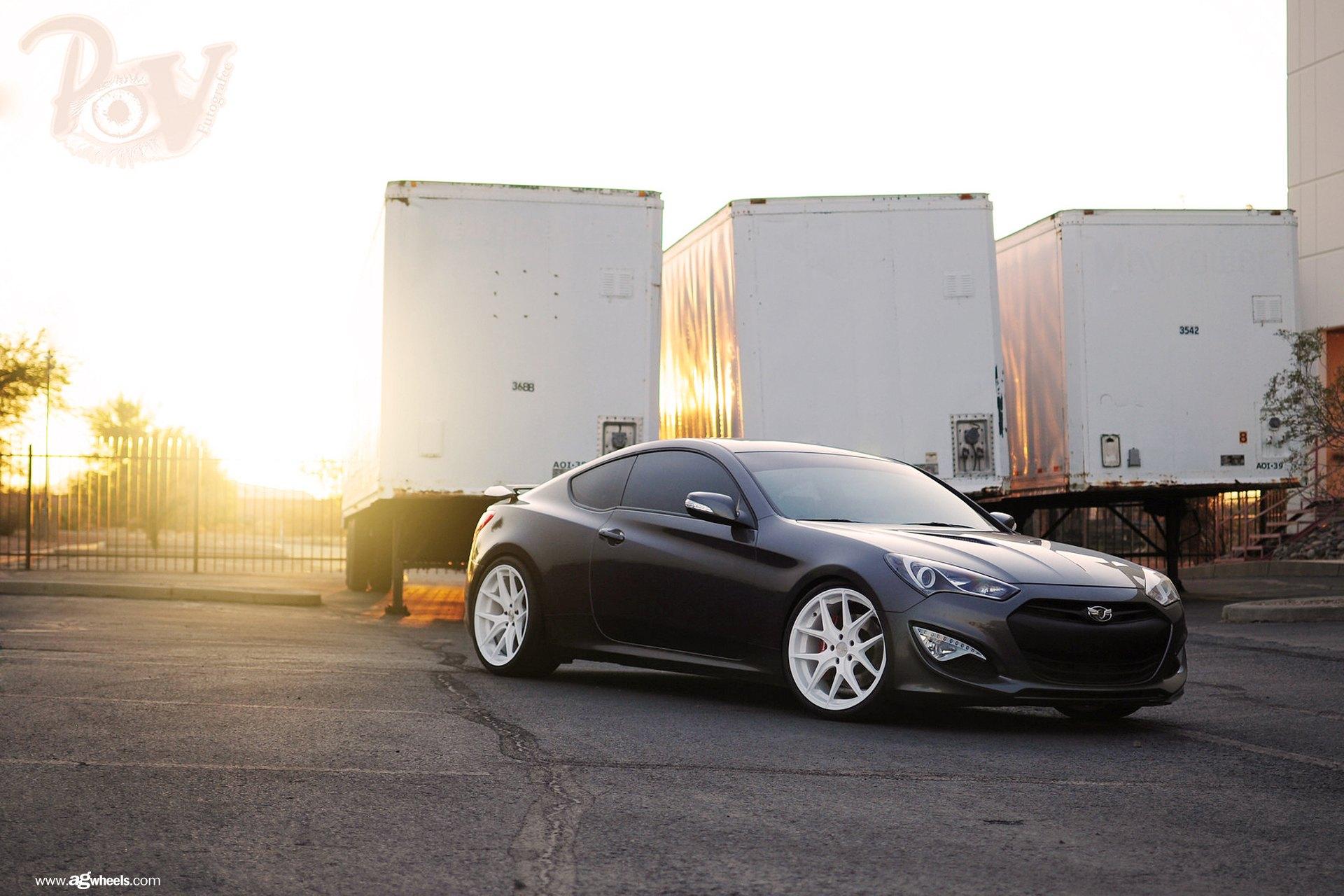 Custom Headlights On Black Hyundai Genesis Coupe Photo By Avant Garde Wheels