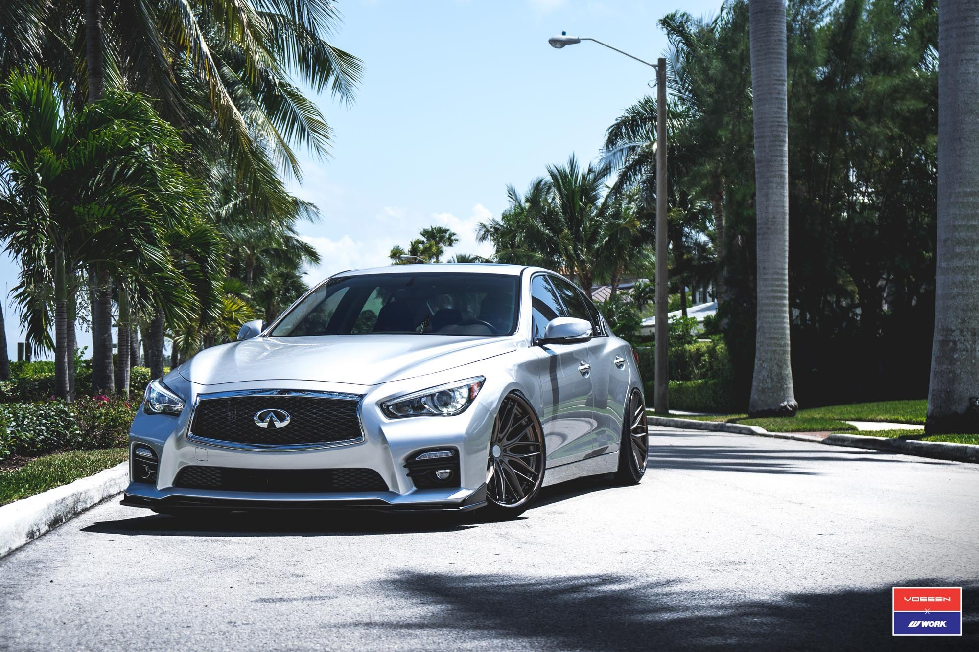 Platinum Infiniti Q50 Sitting on VOSSEN X WORK VWS2 Wheels — CARiD