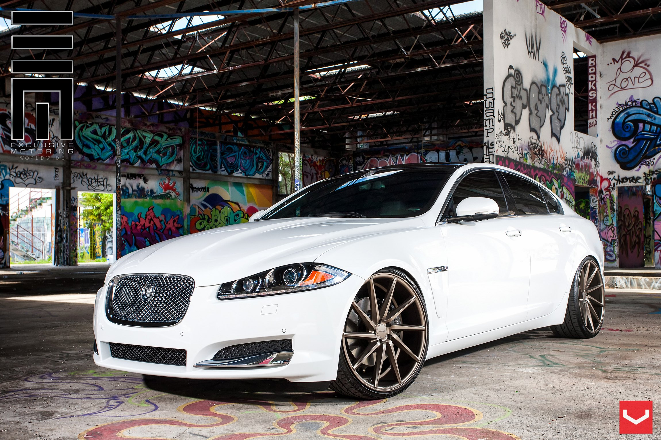 White Jaguar XF With Custom Chrome Canards   Photo By Vossen