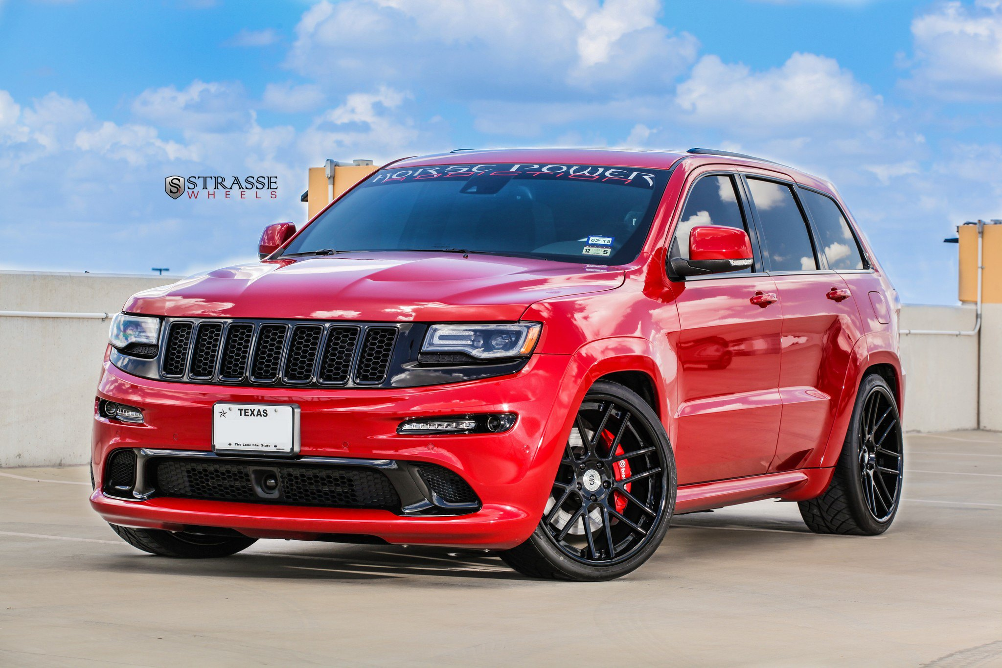 Red Jeep Grand Cherokee With Blacked Out Grille   Photo By Strasse Forged