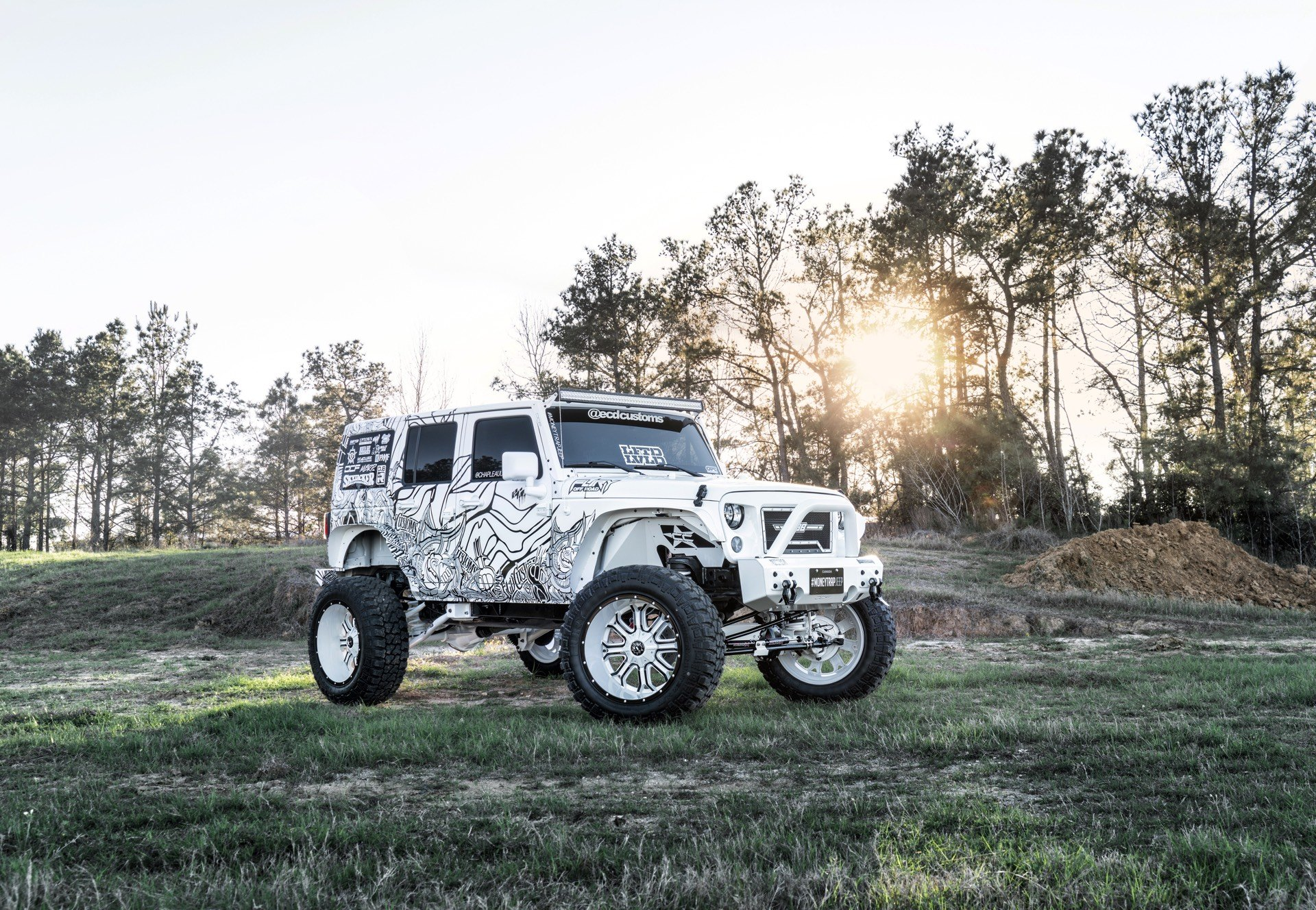 White Lifted Jeep Wrangler with Off-Road LED Light Bars - Photo by TIS Wheels