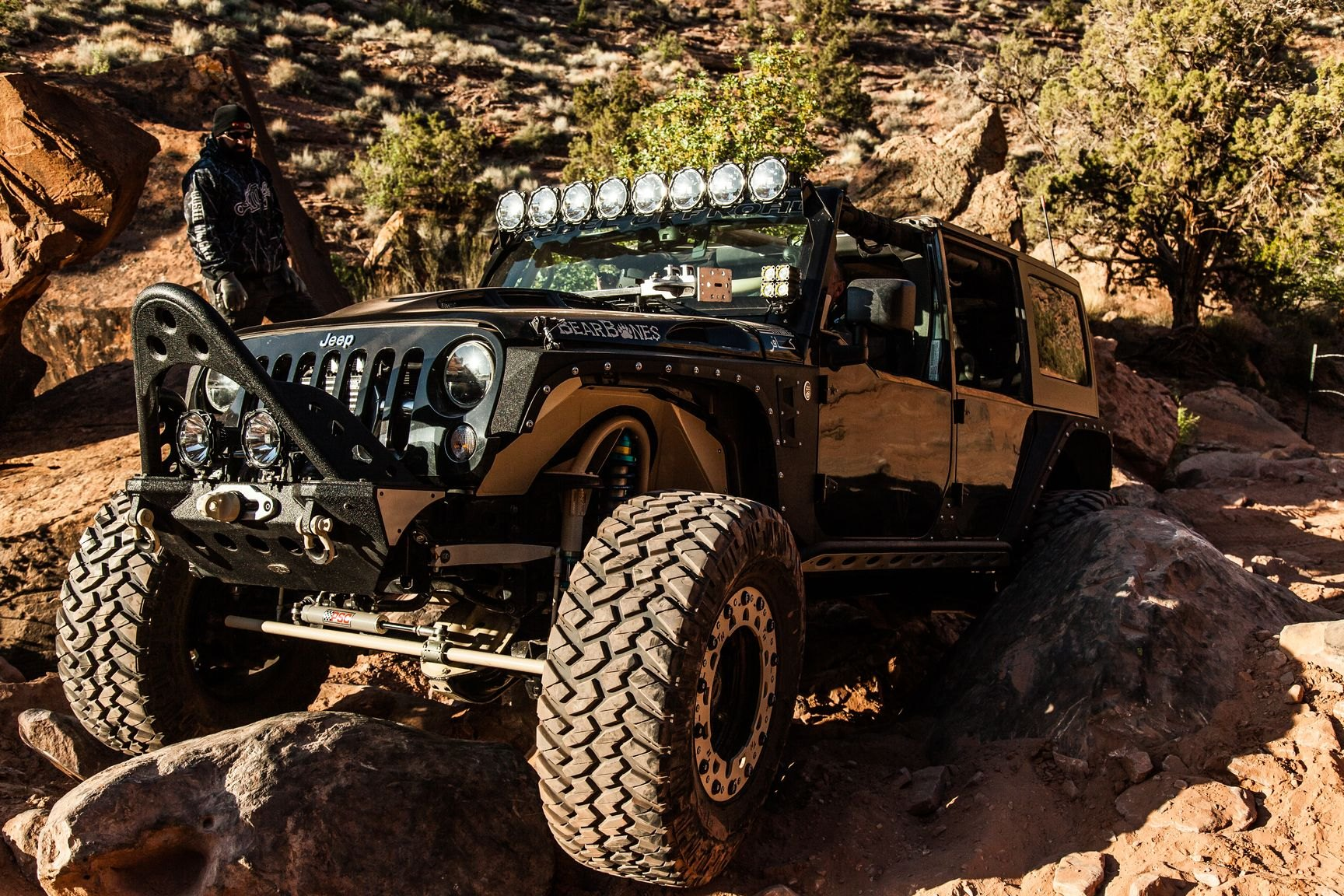 Custom Off-Road Front Bumper on Black Jeep Wrangler - Photo by Rebel Off-Road