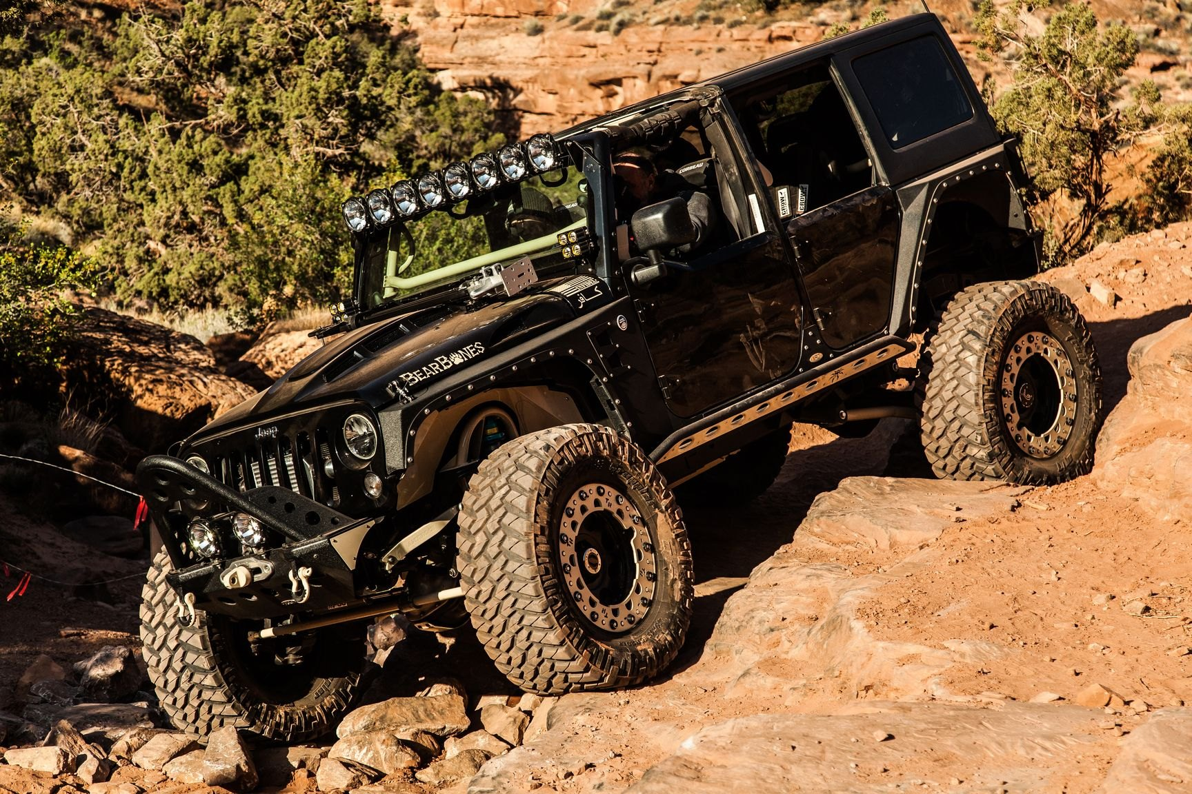 Black Lifted Jeep Wrangler with Windshield LED Lights - Photo by Rebel Off-Road