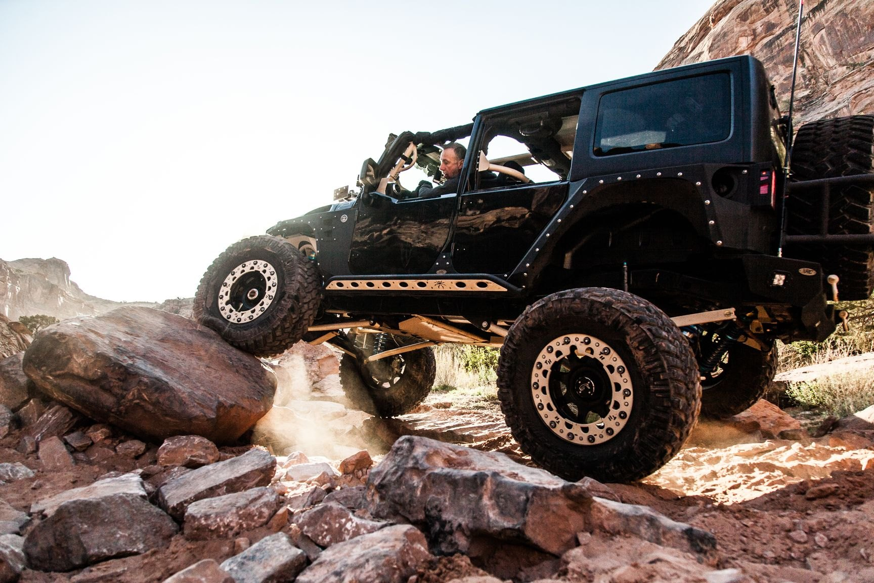 Smittybilt Off-Road Rear Bumper on Black Jeep Wrangler - Photo by Rebel Off-Road