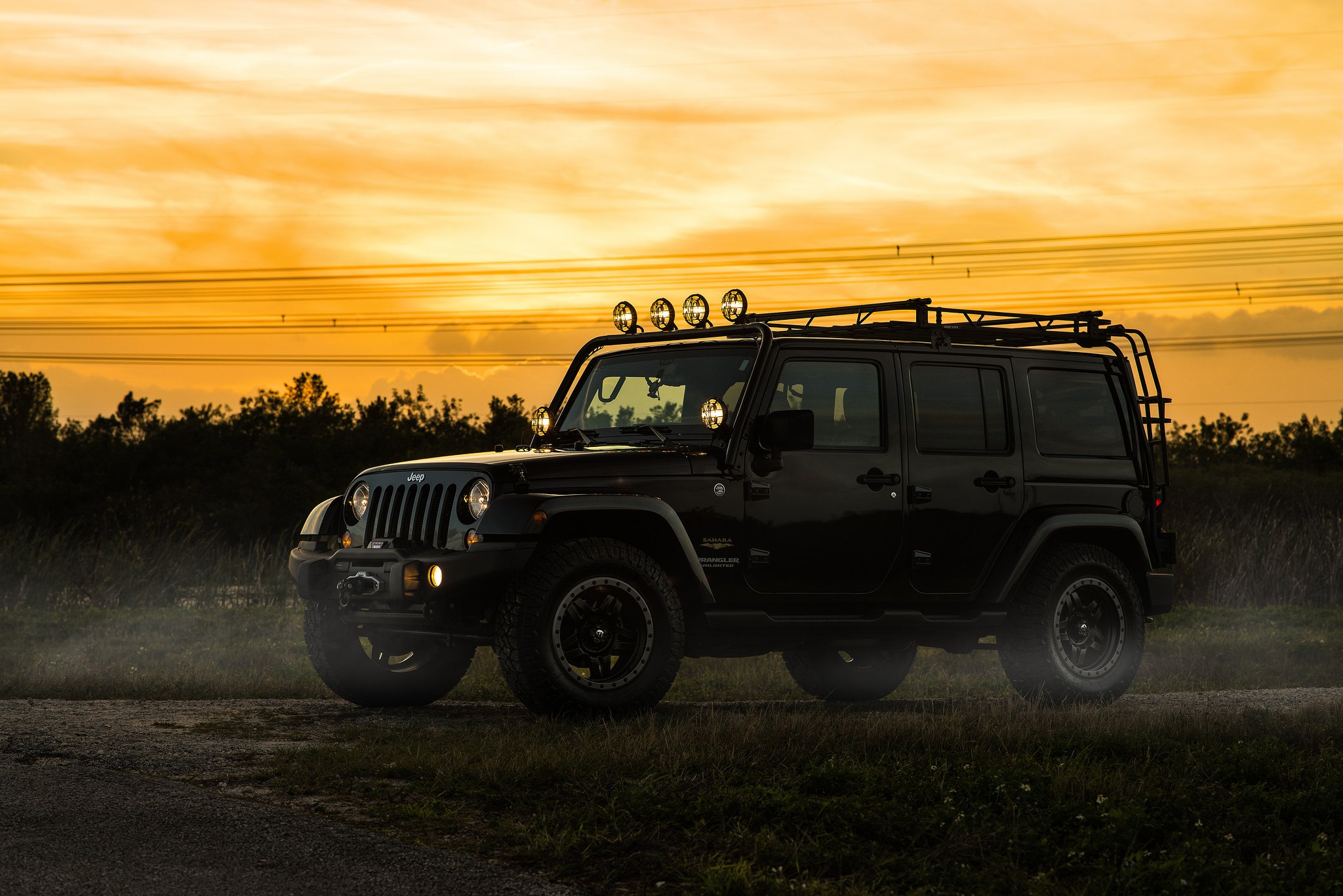 Jku With Expedition Rack And Fuel Off Road Wheels Gallery Jeep Wrangler Kc Hilites Lights On Black Photo By Offroad