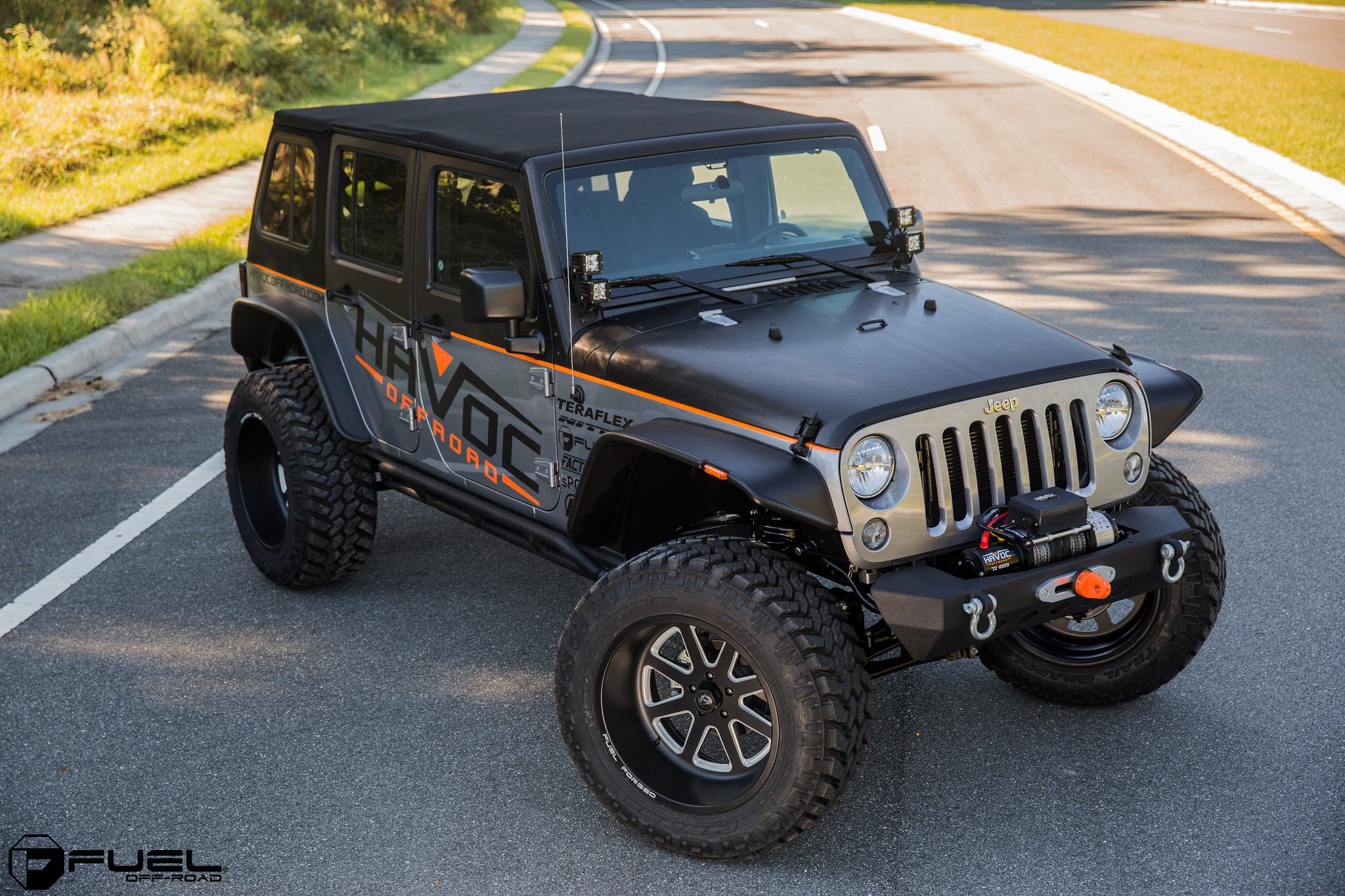 Jku Rocking Deep Dish 22 Inch Fuel Off Road Rims Wrapped With 37 Jeep Jk Tires Black Forged Offroad Wheels On Wrangler Photo By