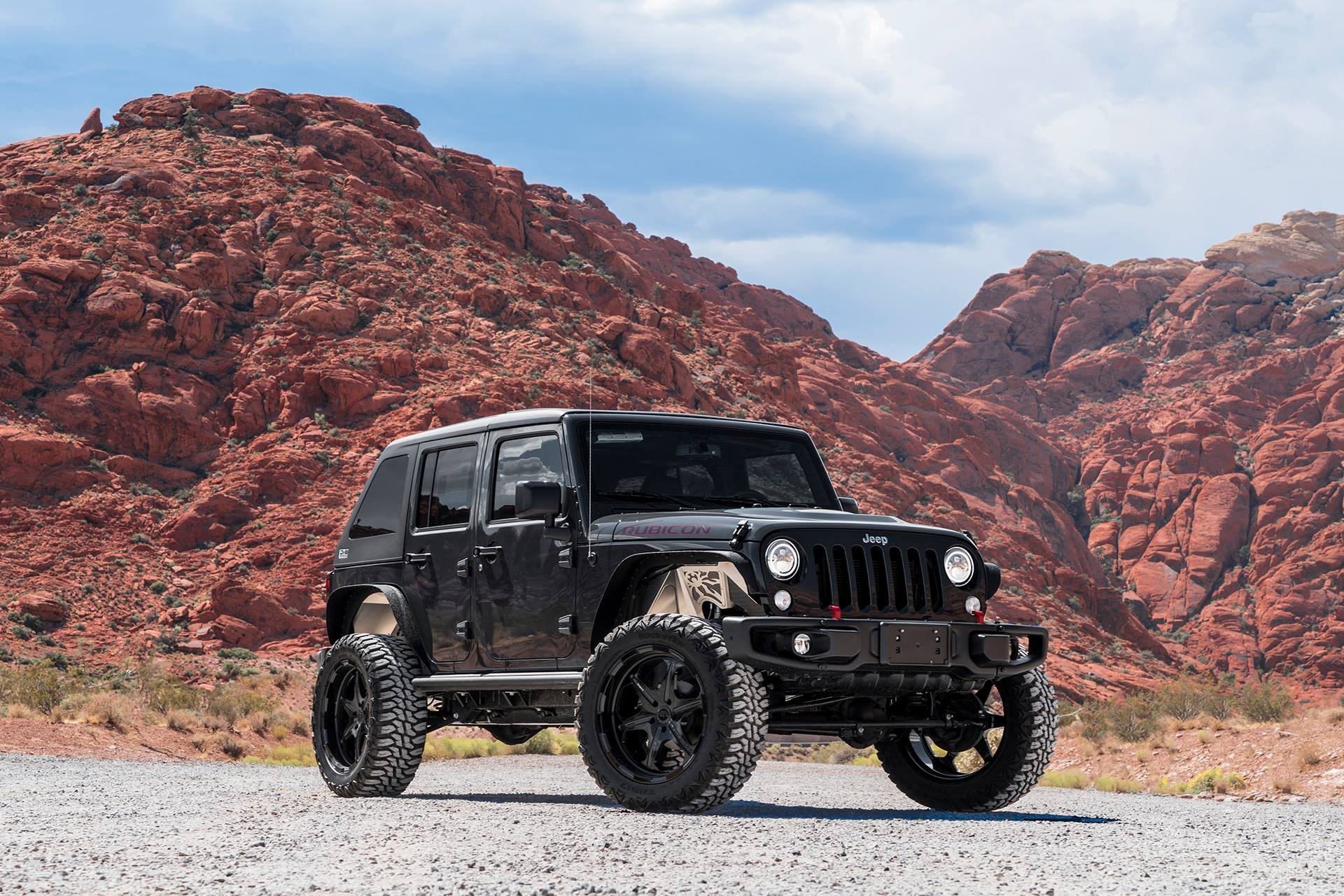 All Black Custom Jeep Wrangler Lifted And Fitted With Black Forgiato