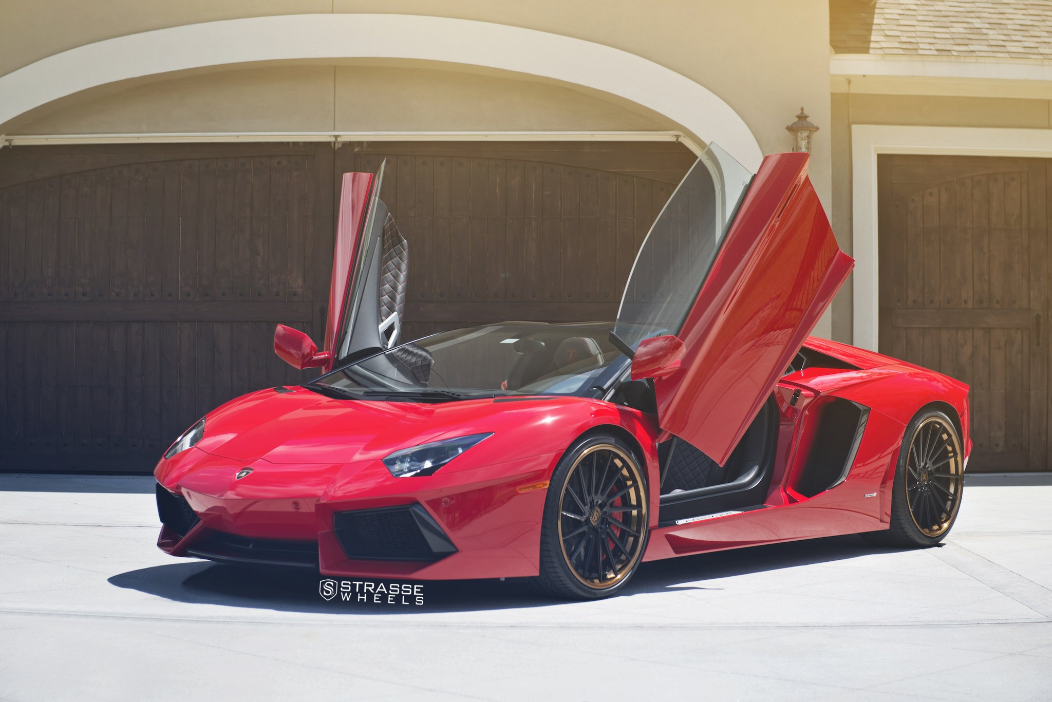 Red Lamborghini Aventador with Custom Vertical Doors - Photo by Strasse Forged & Epic Red Lamborghini Aventador Boasting Vertical Doors \u2014 CARiD.com ...