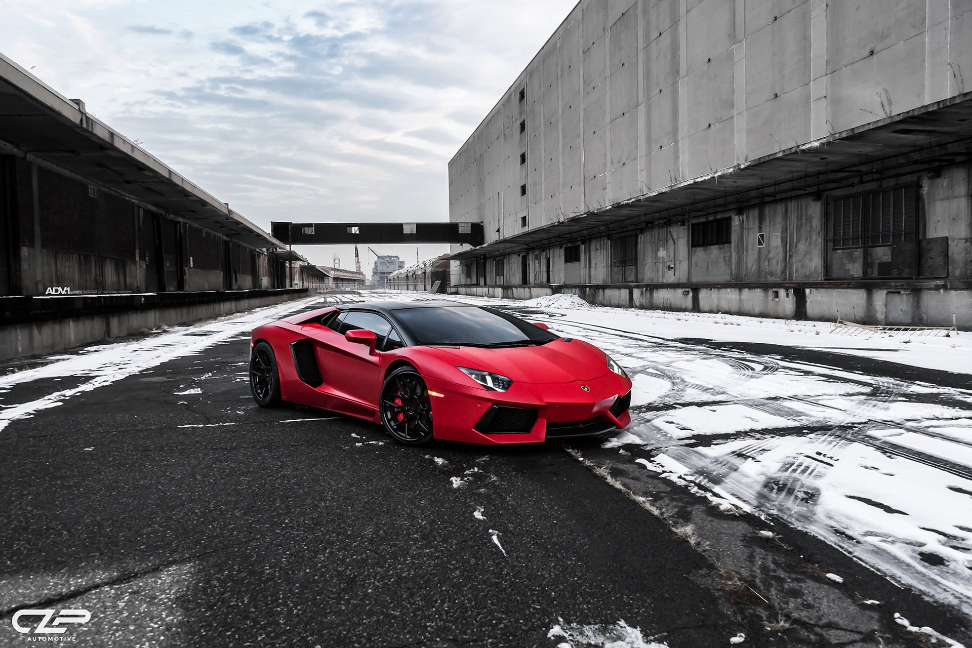 Custom Red Lamborghini Aventador Sitting On Matte Black Adv1 Rims