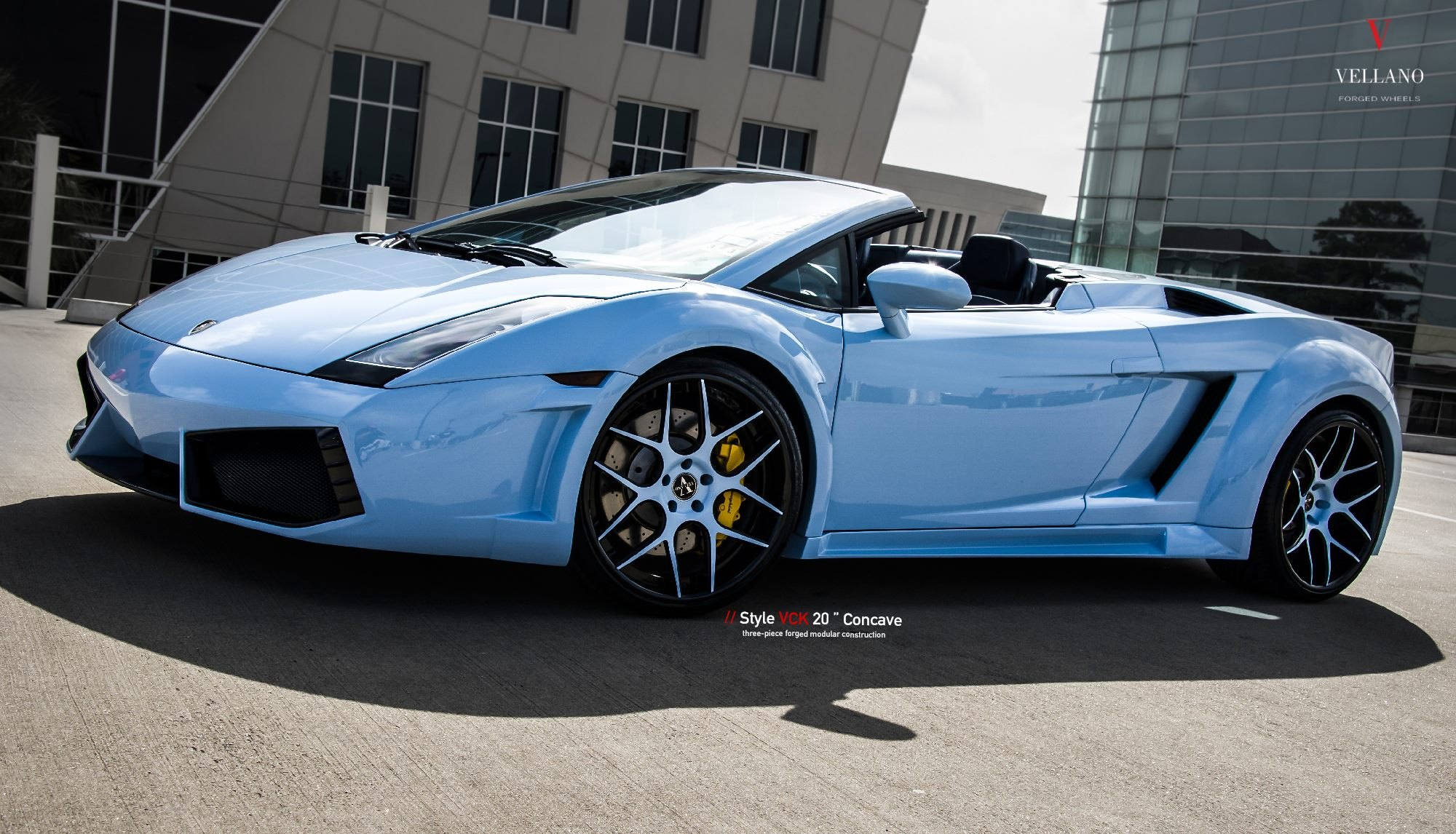 Baby Blue Convertible Lamborghini Gallardo Customized And Put On