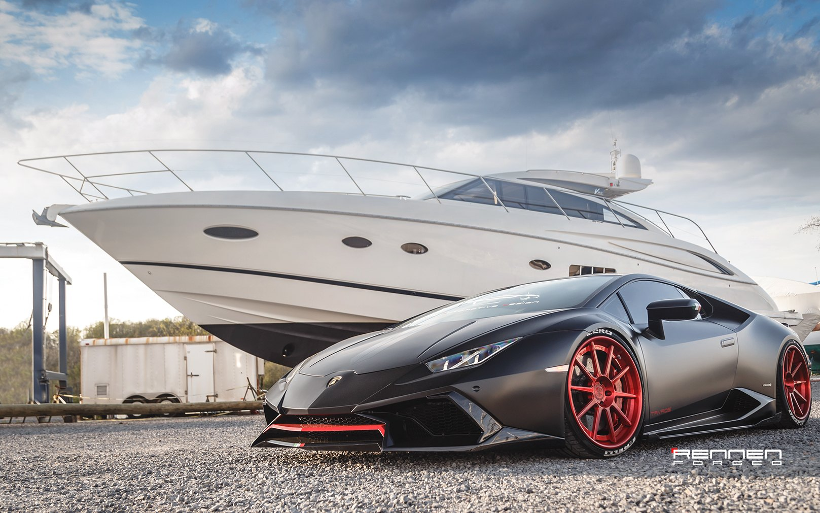 Black And Red Lamborghini Huracan Showing Off Red Forged Rennen