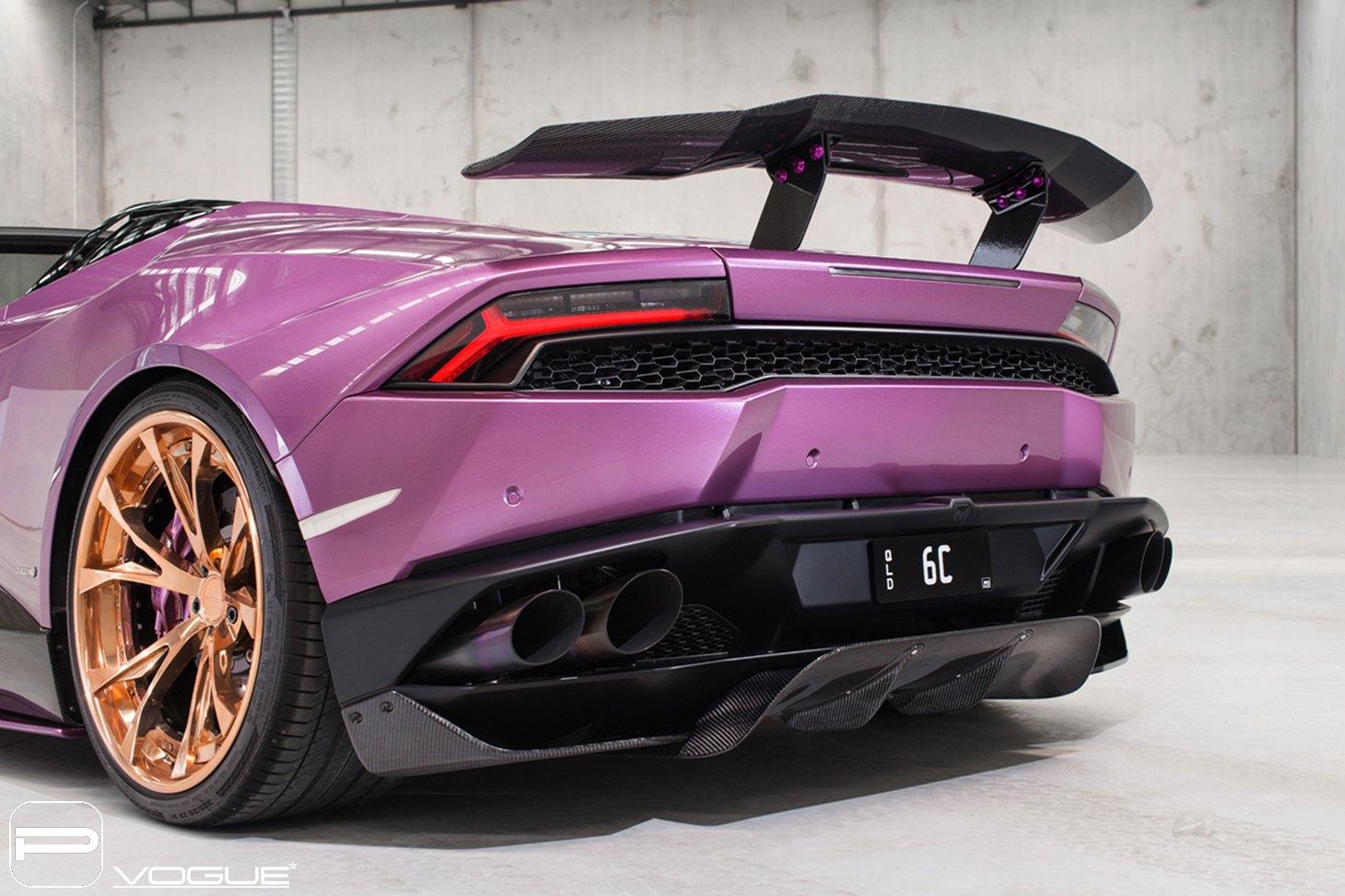 Lambo Show Stopper Purple Huracan on Gold PUR Wheels