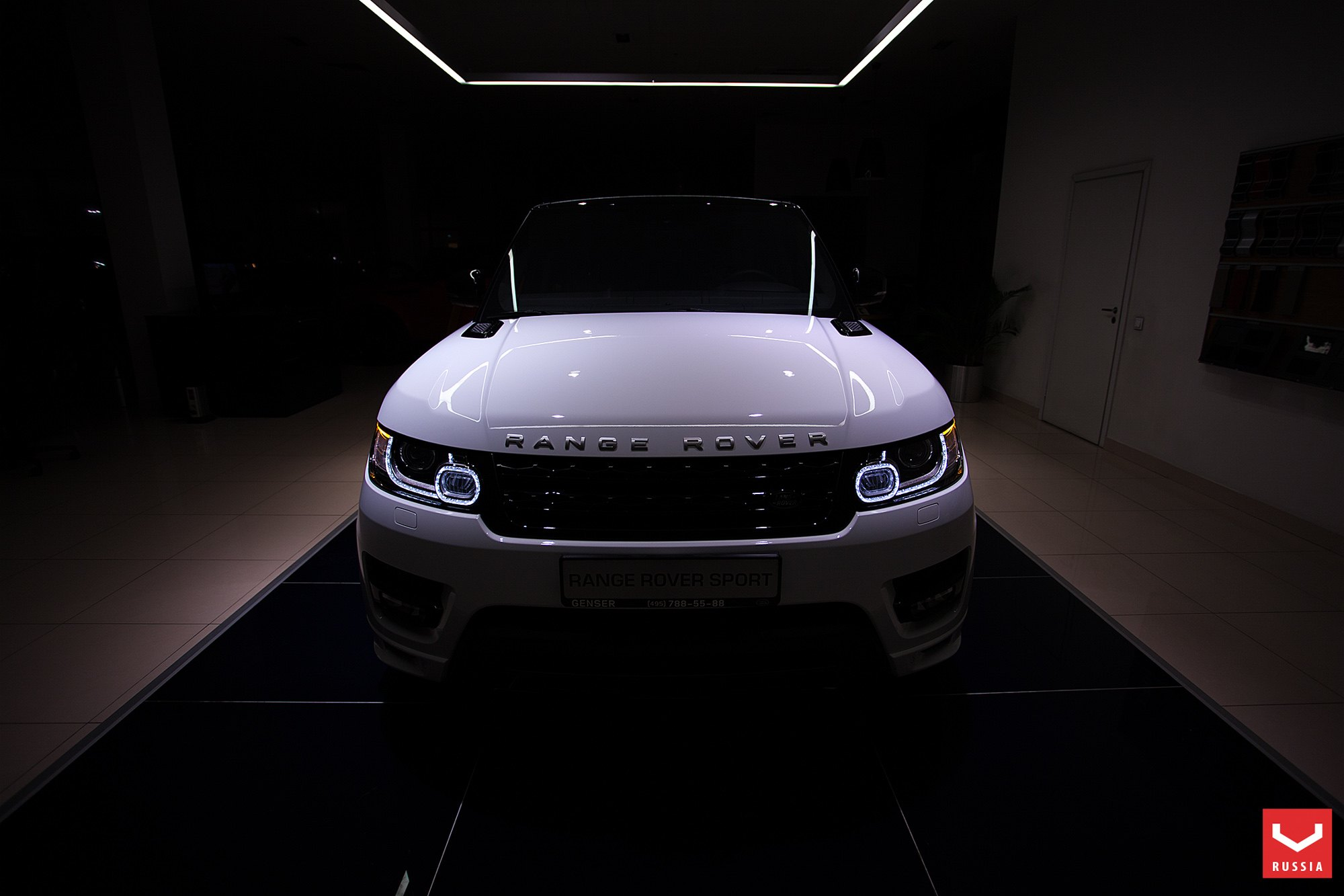 White Land Rover Range Rover Sport with Custom LED Headlights - Photo by Vossen