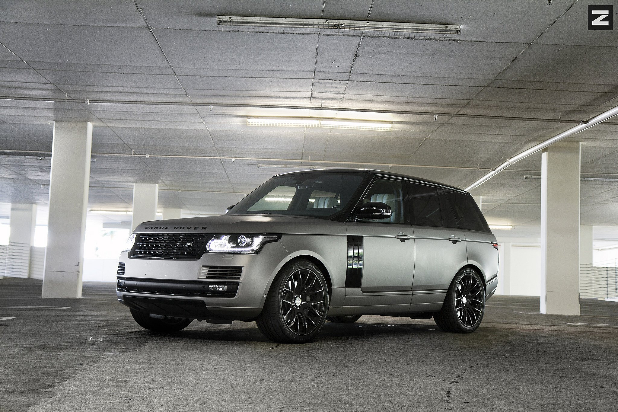 50 Shades of Rover Gray Range Rover with Blacked Out Mesh Grille