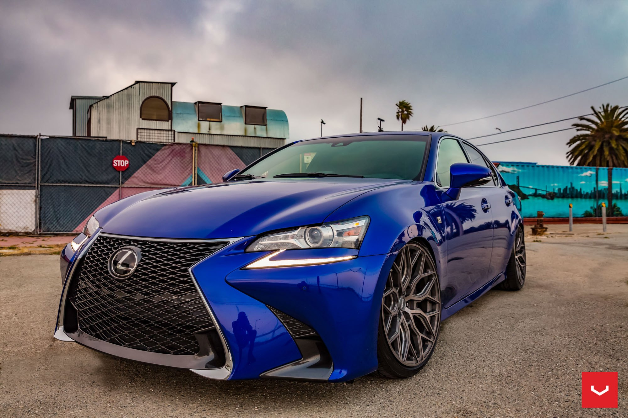 Aftermarket Front Bumper on Blue Lexus GS - Photo by Vossen