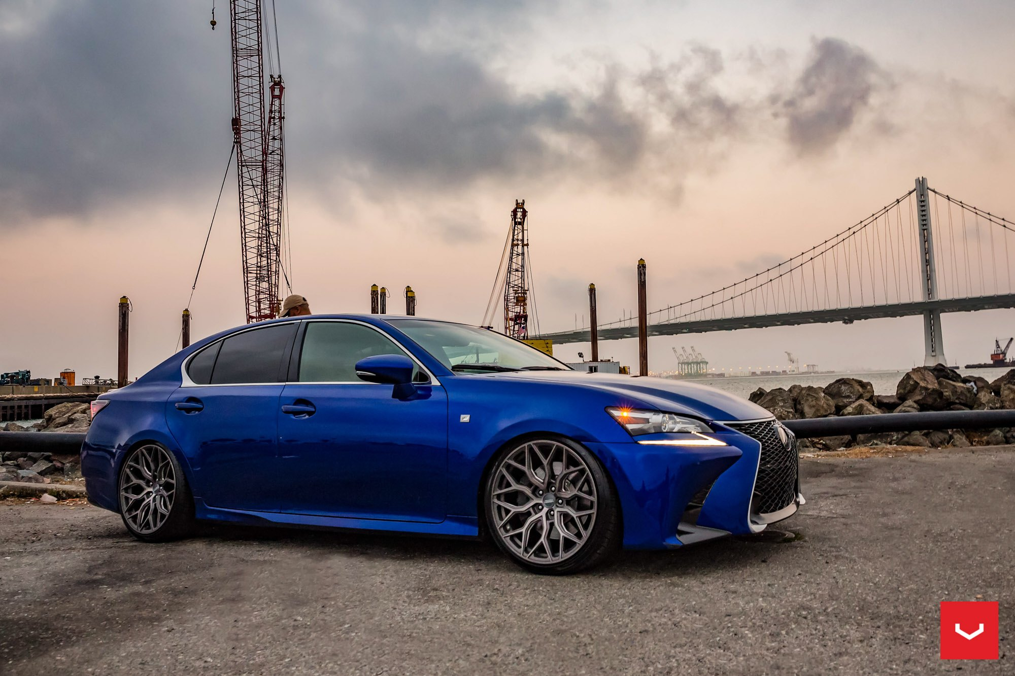 Aftermarket Side Skirts on Blue Lexus GS F - Photo by Vossen