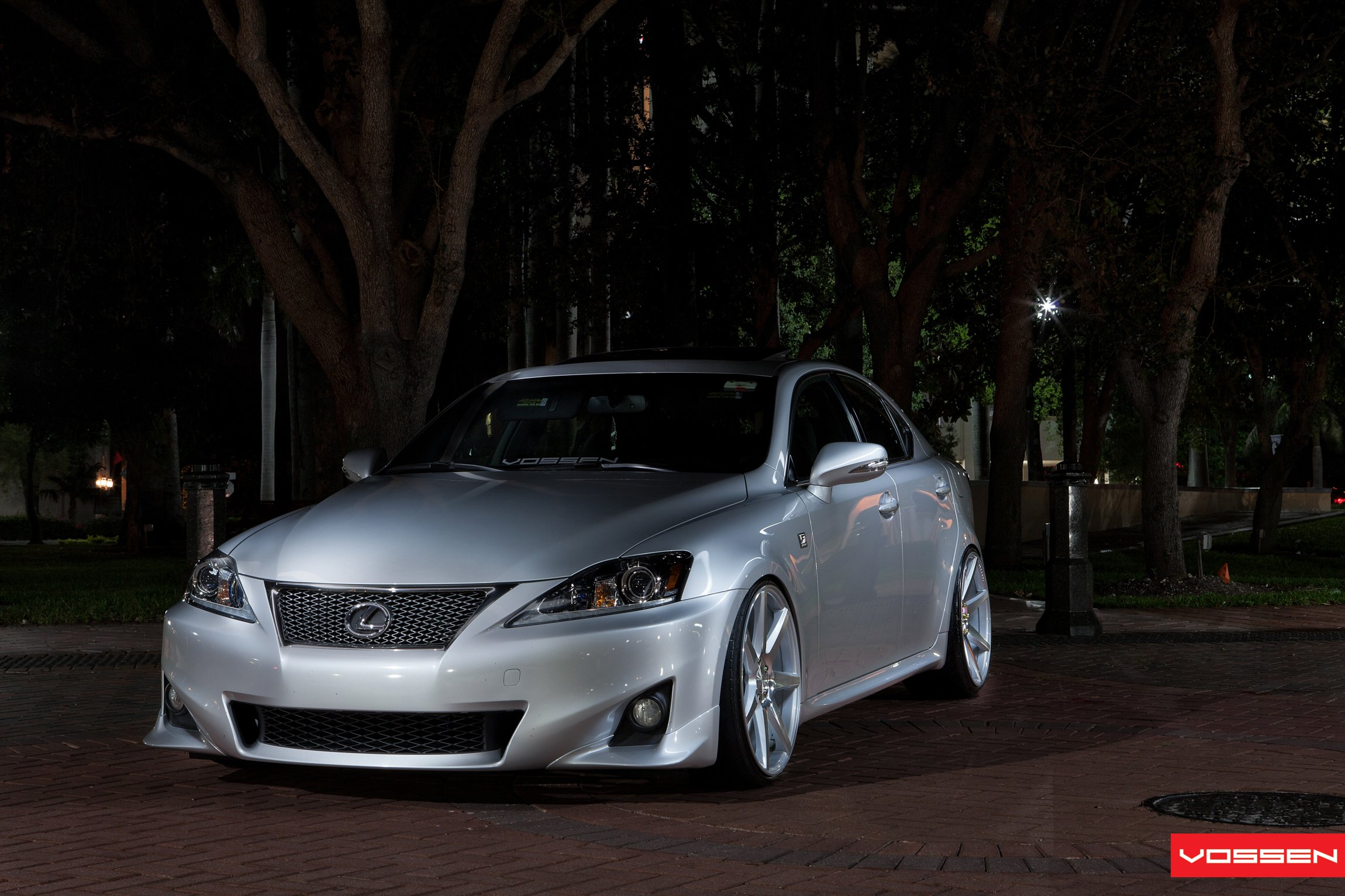 Silver Stanced Lexus Is With Custom Chrome Grille Photo By Vossen