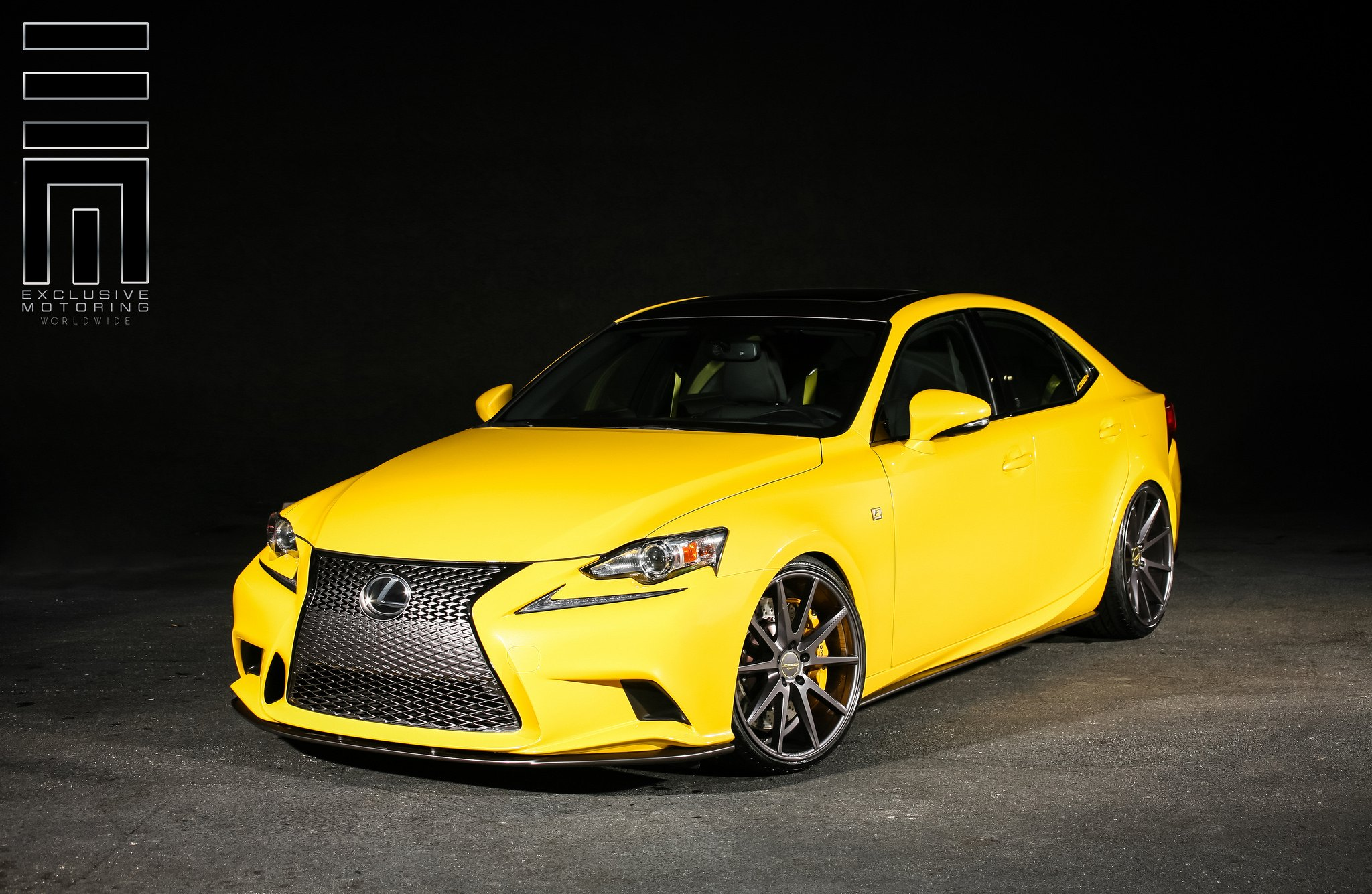Screaming Yellow Lexus IS F On Vossens   Photo By Exclusive Motoring