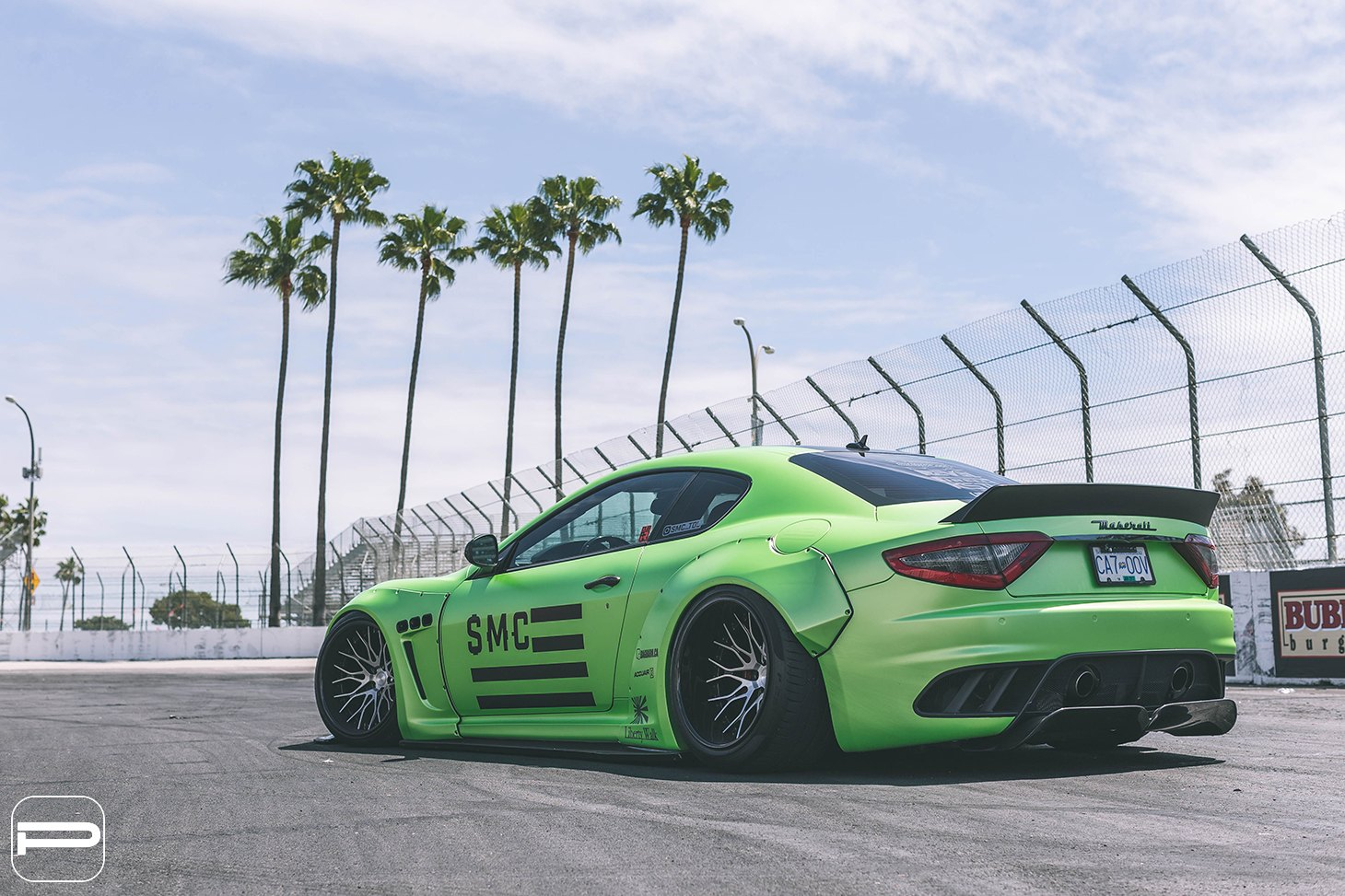 Liberty Walk Body Kit on Green Debadged Maserati Granturismo - Photo by PUR Wheels