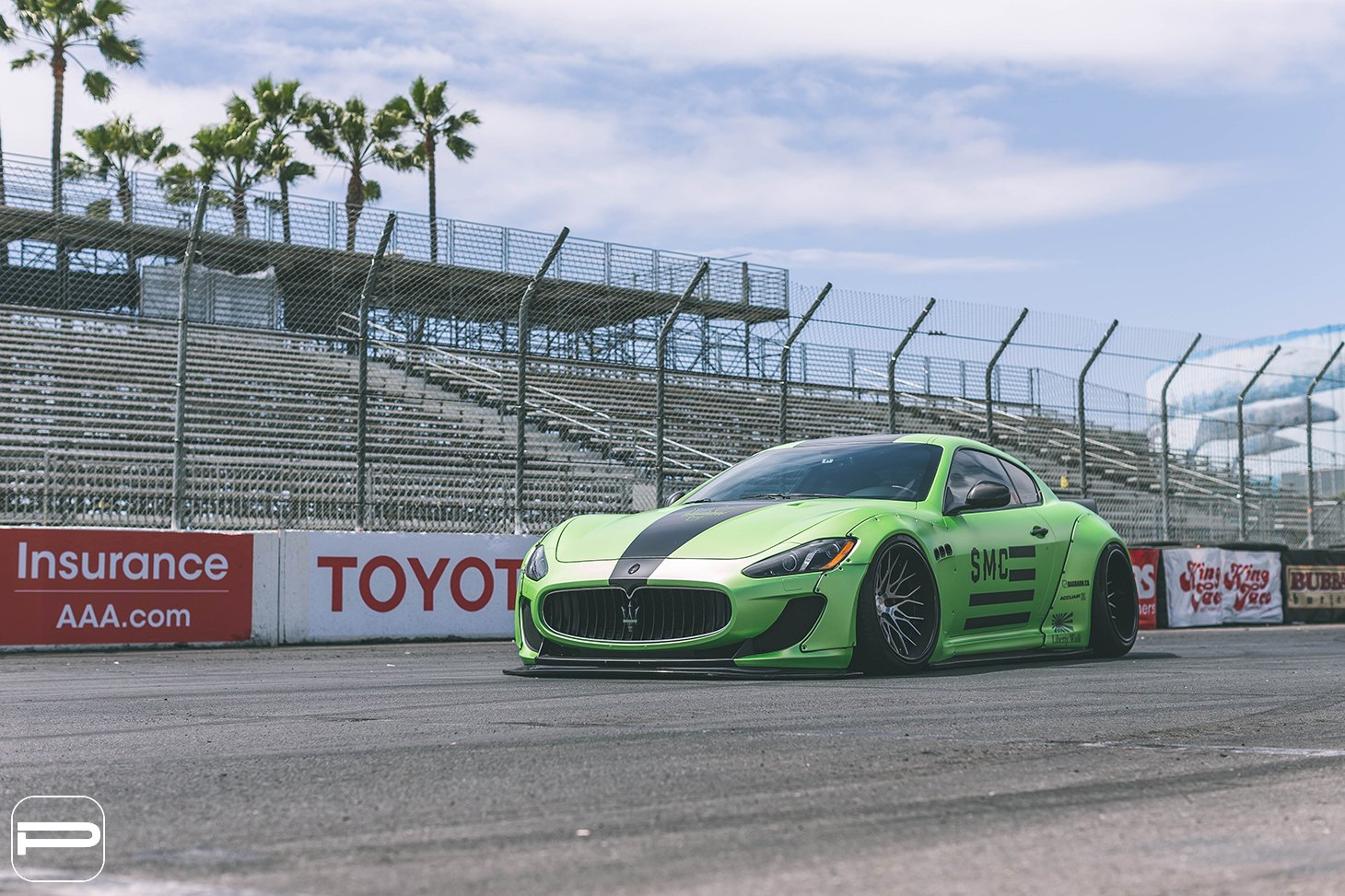 Custom Front Lip on Green Debadged Maserati Granturismo - Photo by PUR Wheels