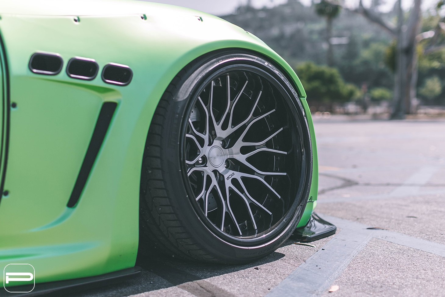 Green Debadged Maserati Granturismo with Pirelli Tires - Photo by PUR Wheels