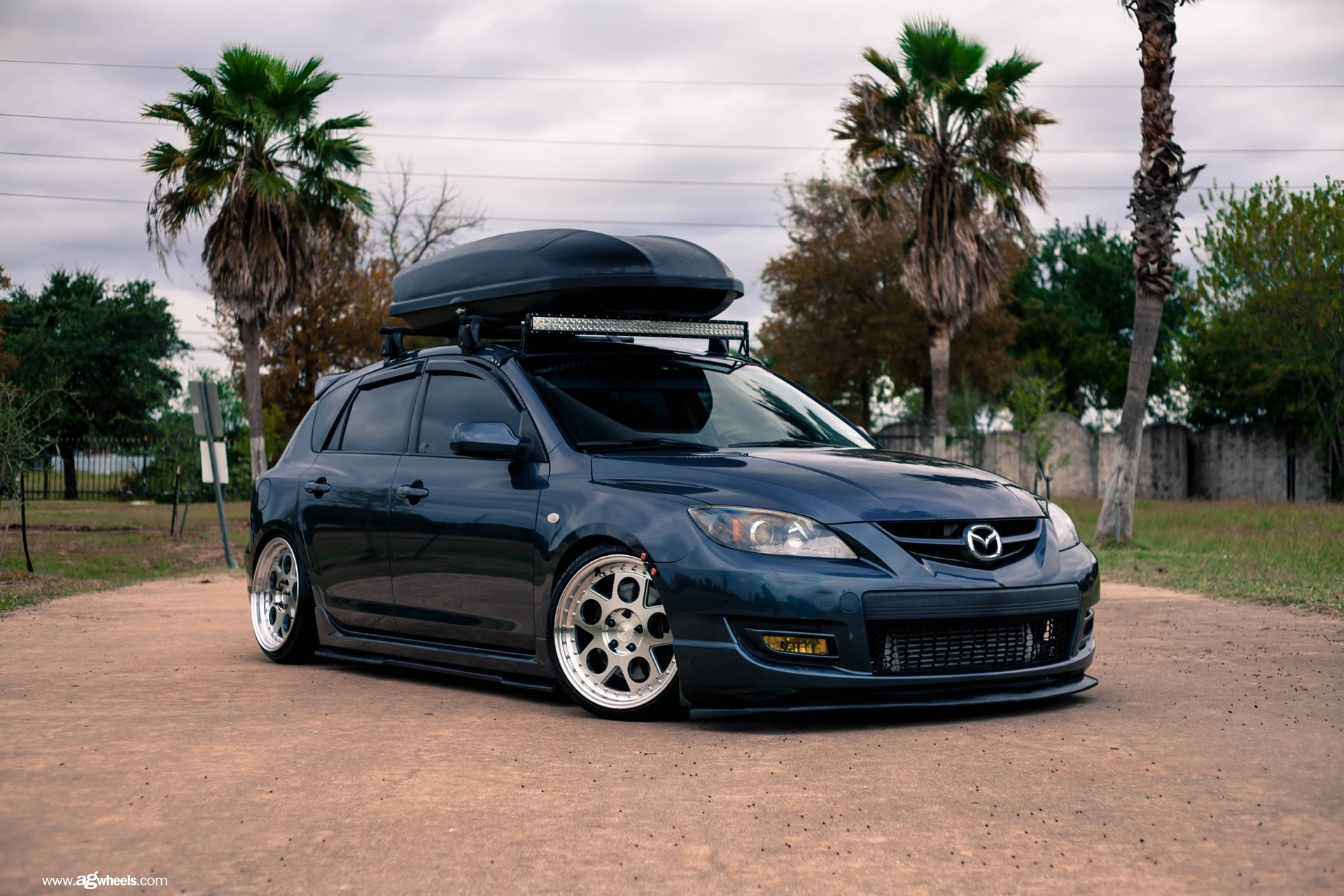 Custom Black Mazda 3 With Roof Rack   Photo By Avant Garde Wheels