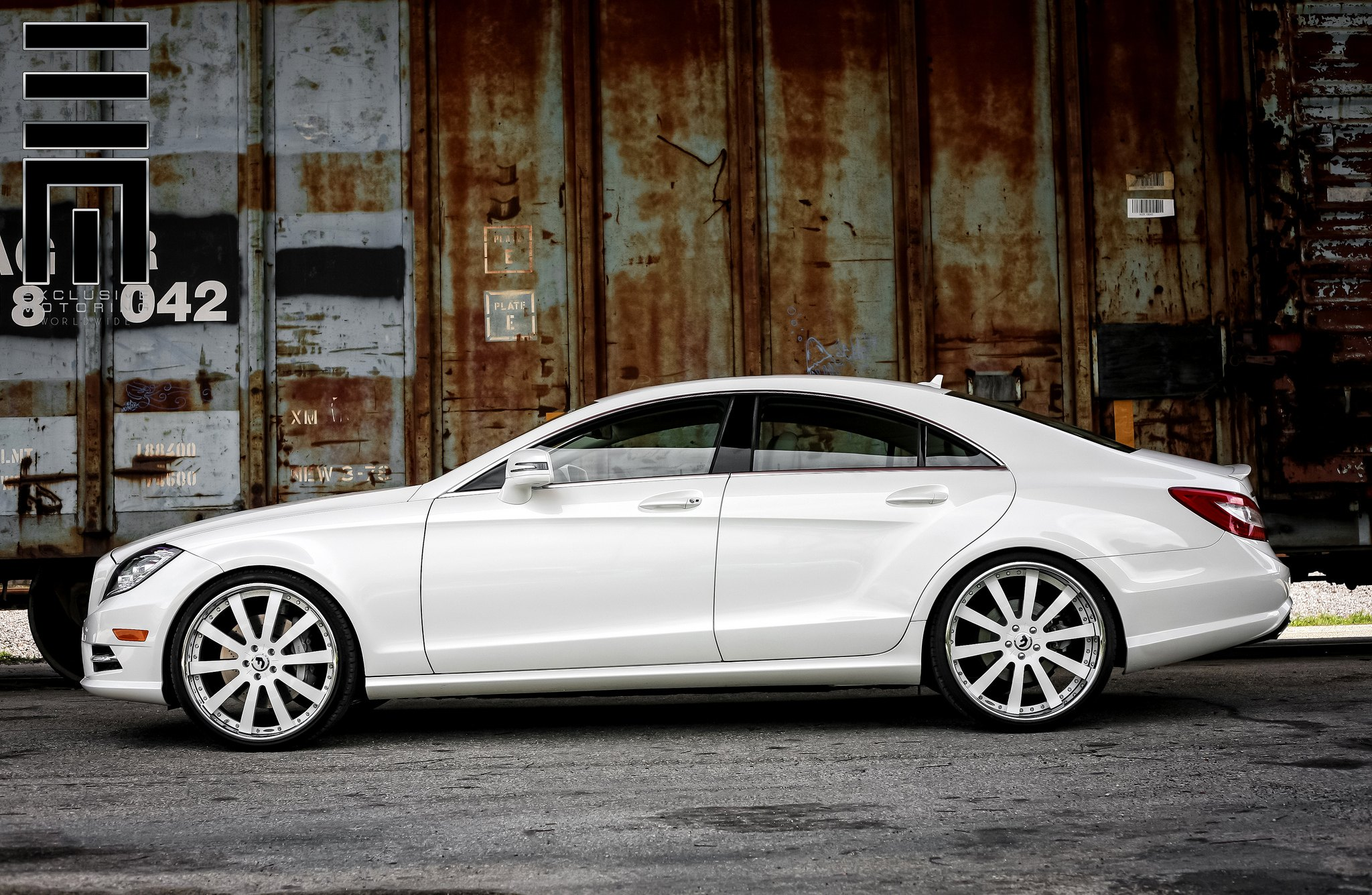 White Mercedes CLS on Forgiato Custom Wheels — CARiD.com ...