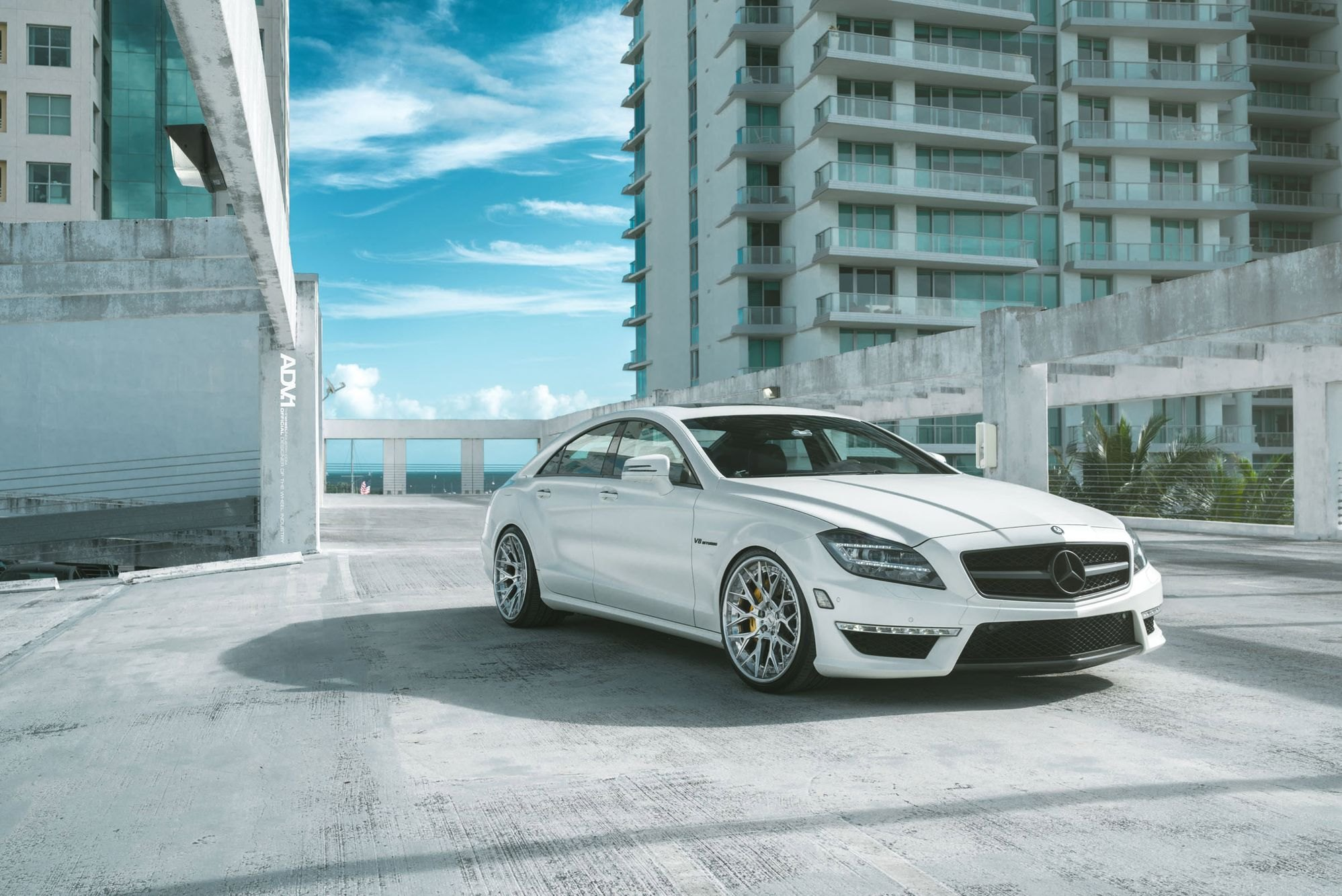 Miami heat lowered mercedes cls63 on adv1 rims carid for Mercedes benz body shop miami