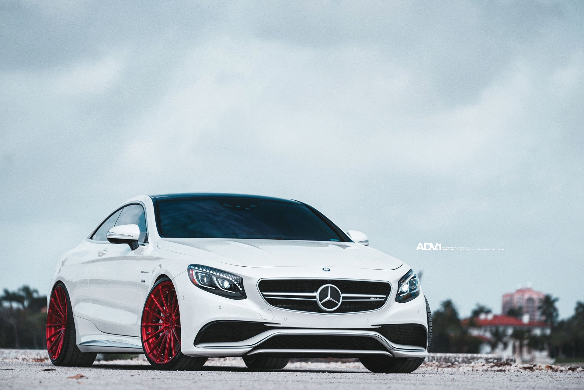 Beautiful white mercedes s class coupe on red from for Mercedes benz body shop miami
