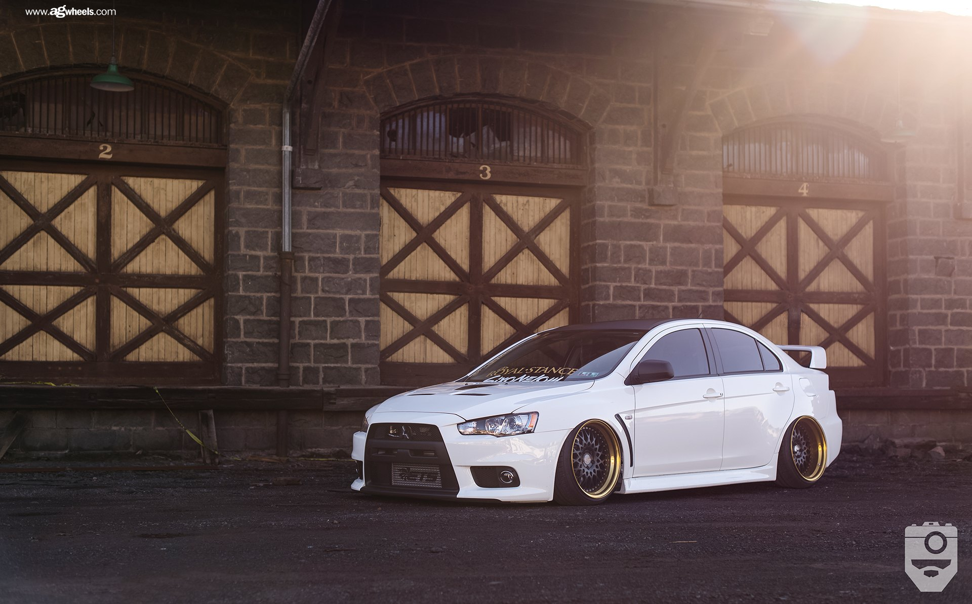 Stance Is Everything: White Mitsubishi Evolution with Custom