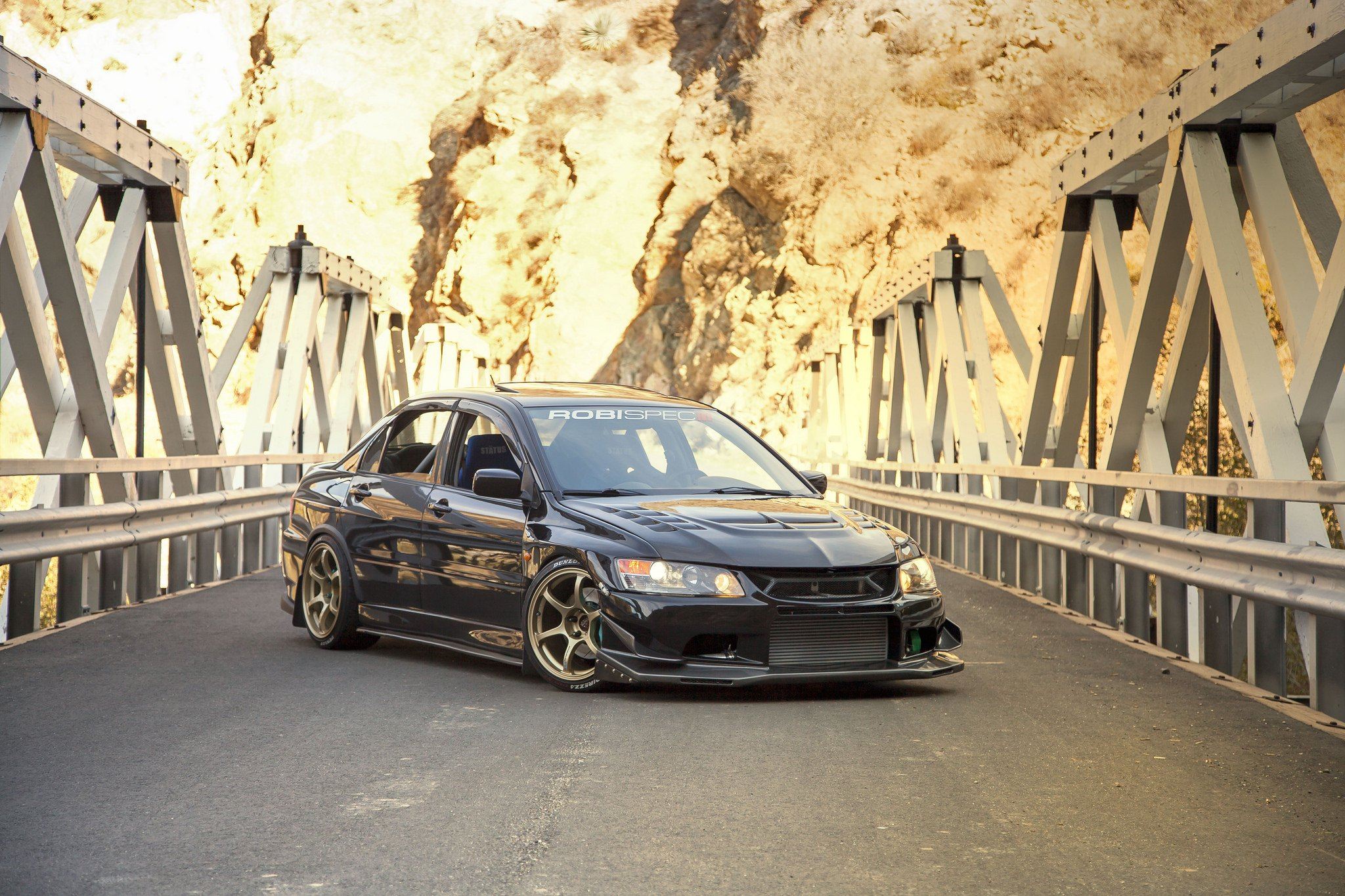 Custom Front Lip on Black Mitsubishi Evolution - Photo by Manuel Veron