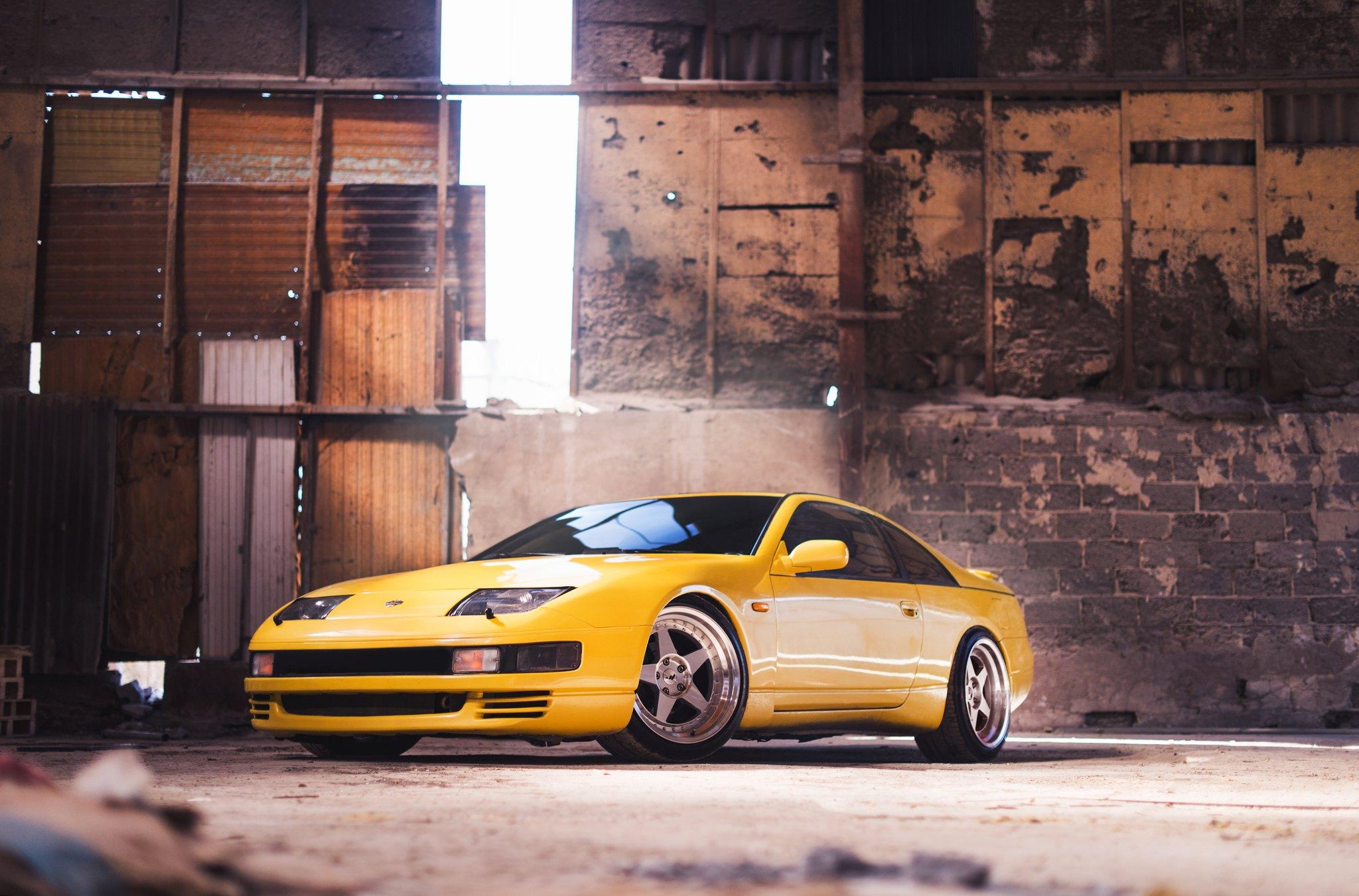 Yellow Nissan 300zx Resting On Custom Silver Jr Wheels Caridcom