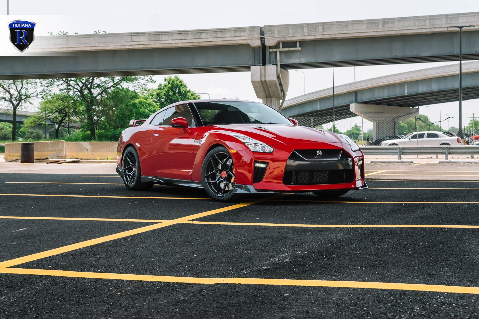 Red Nissan GT-R with Crystal Clear Headlights - Photo by Rohana Wheels
