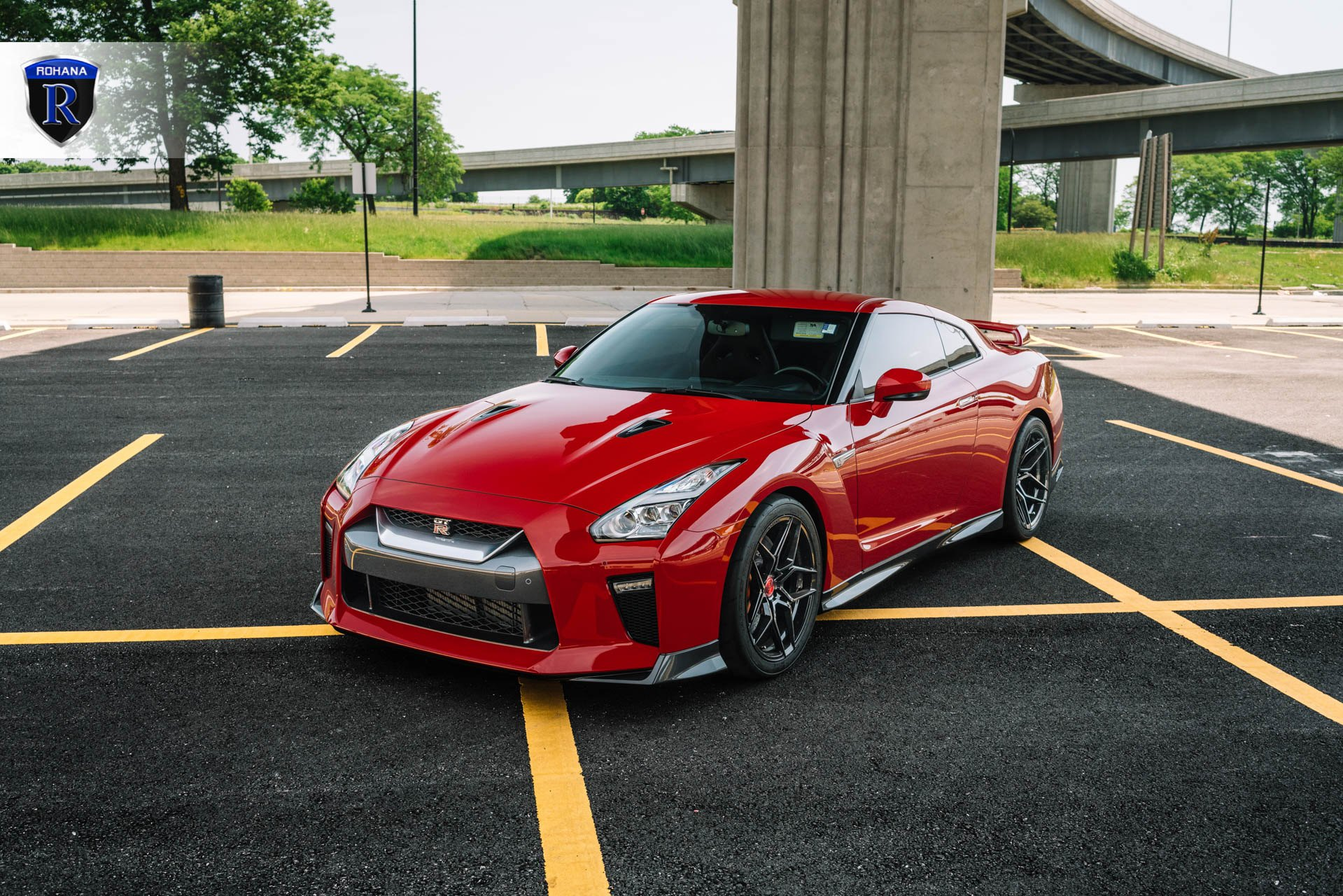 Custom Vented Hood on Red Nissan GT-R - Photo by Rohana Wheels