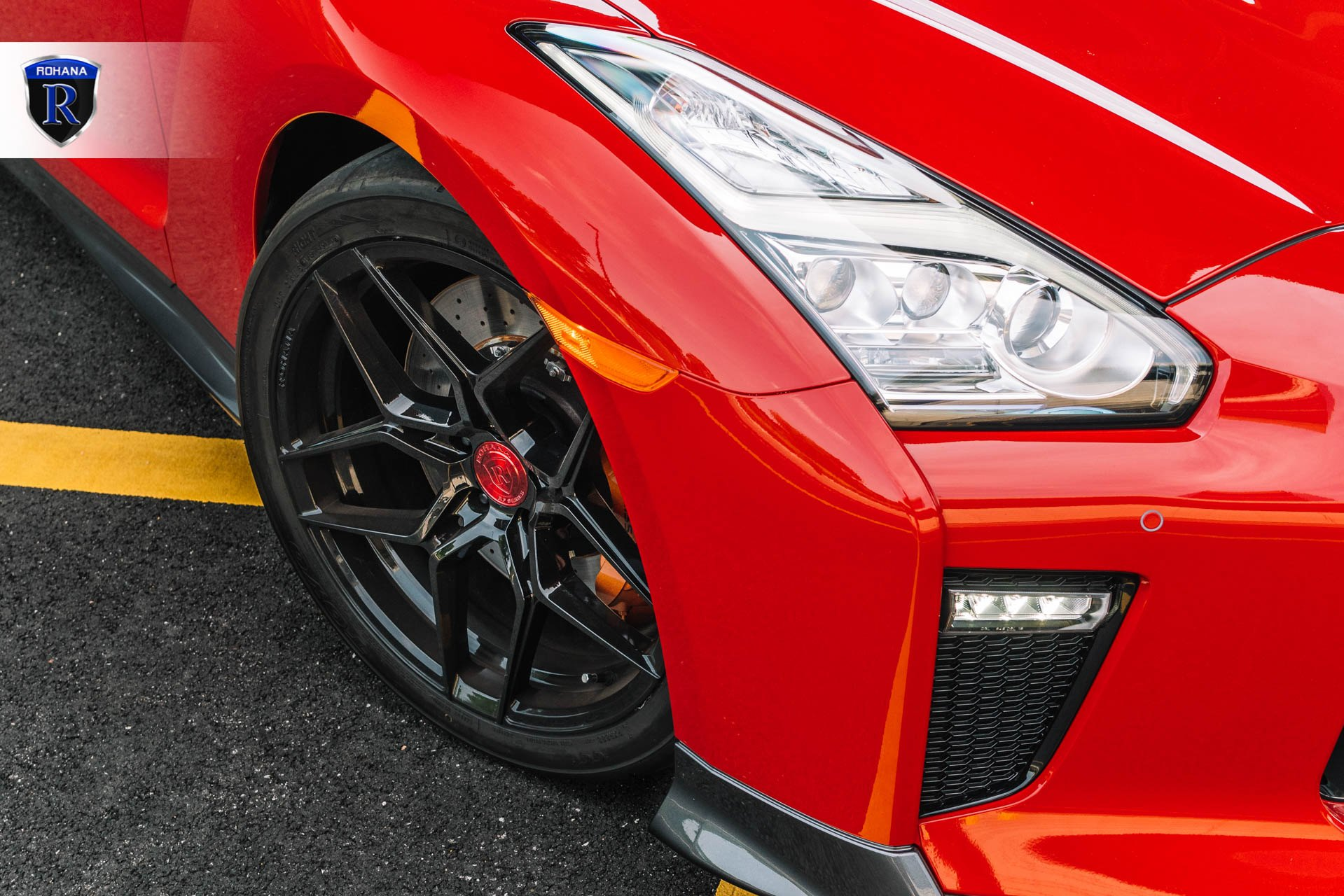Red Nissan GT-R with Custom Gloss Black Rohana Rims - Photo by Rohana Wheels