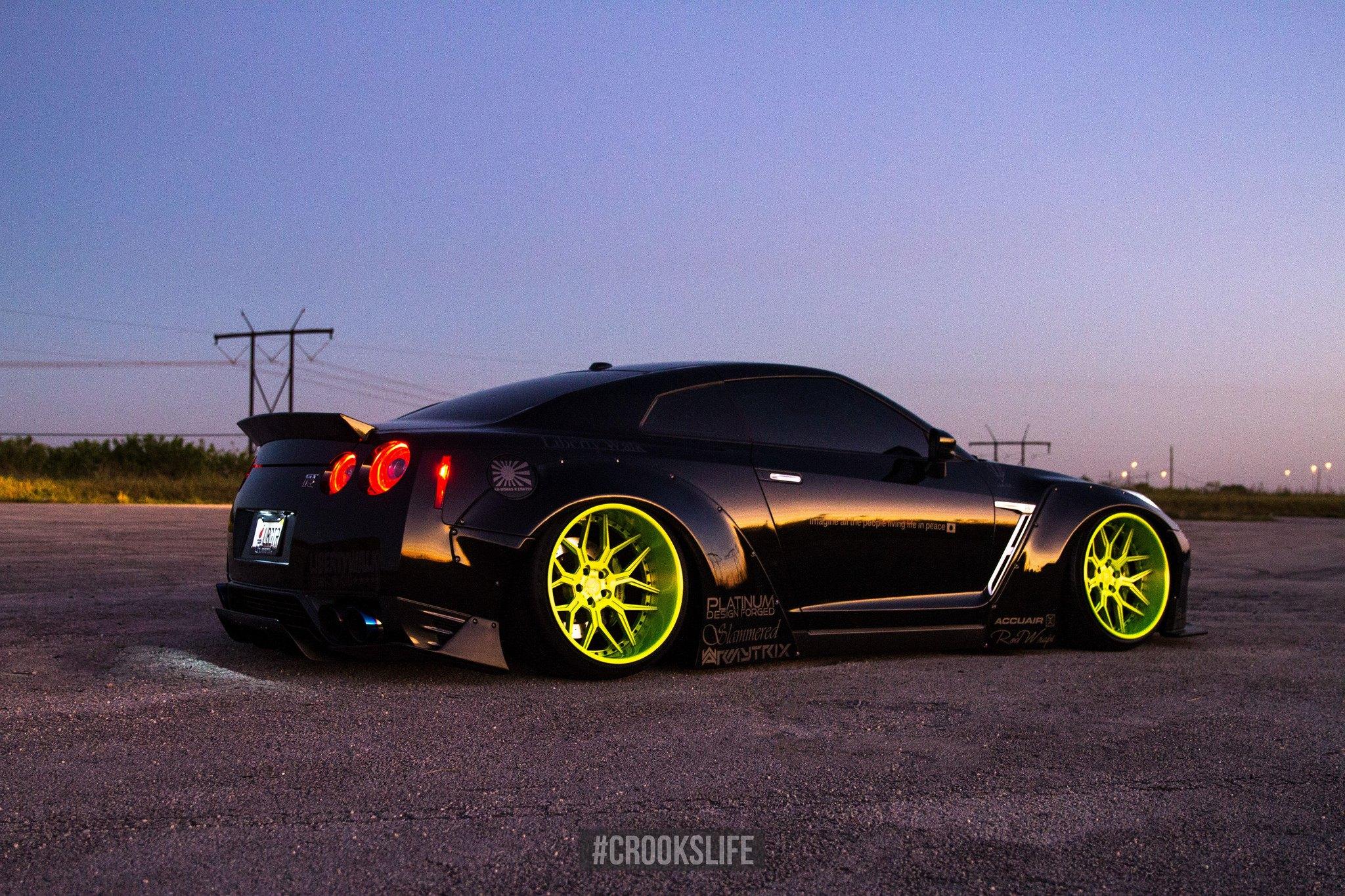 Track Toy Black Gt R On Bright Lime Green Wheels Carid