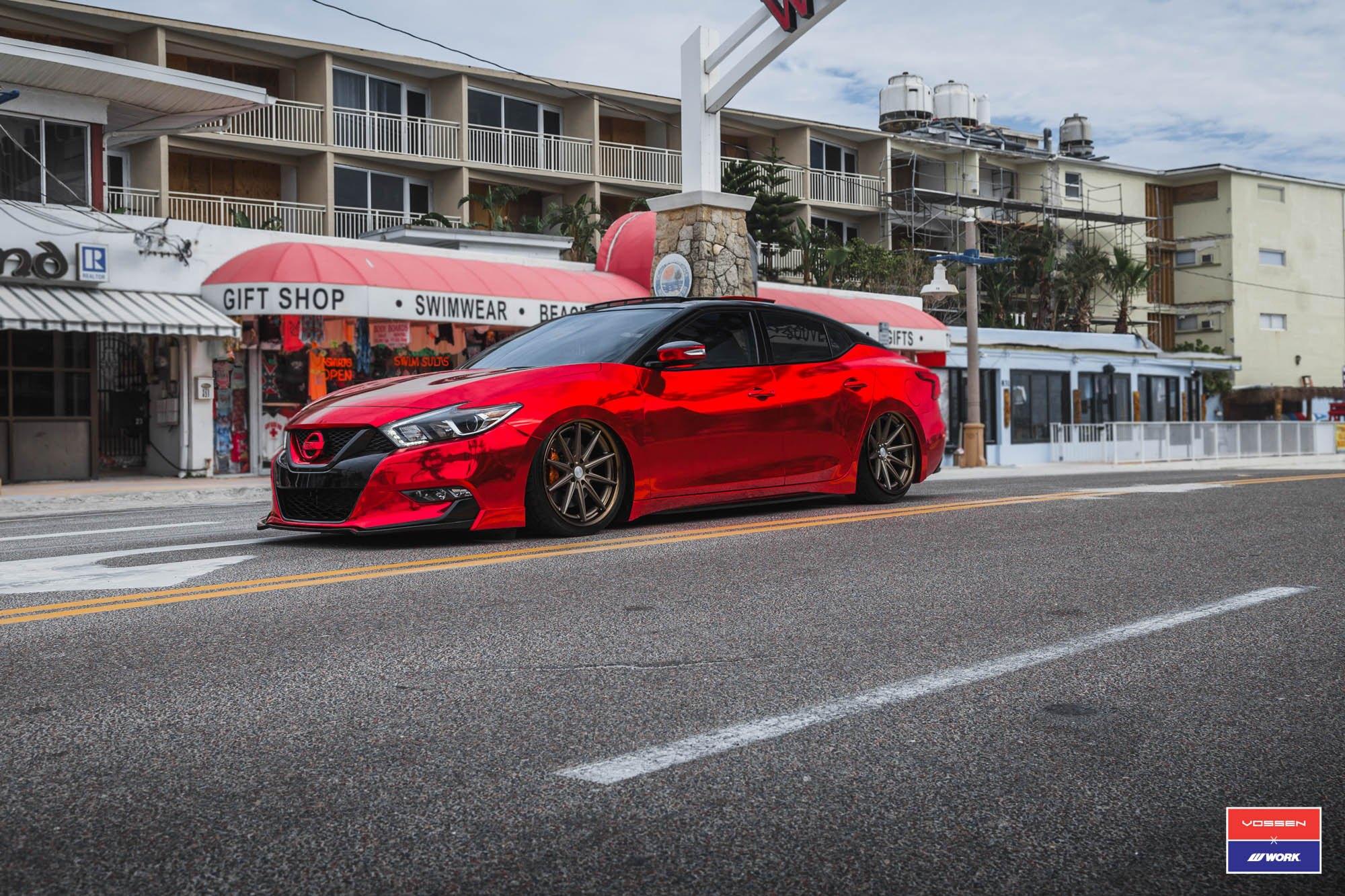 2016 Nissan Maxima Slammed >> Slammed Nissan Maxima With a Chrome Red Wrap and Vossen Rims — CARiD.com Gallery